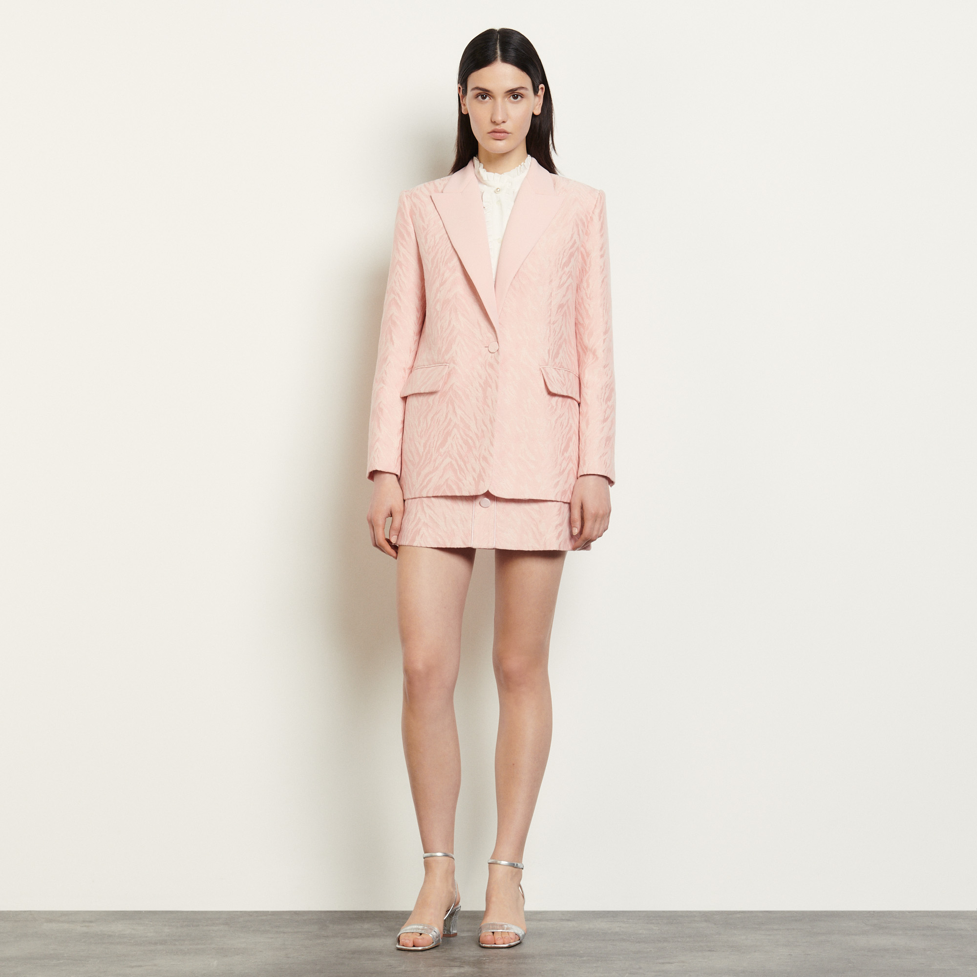 Tailored jacket in striped jacquard  - Pink
