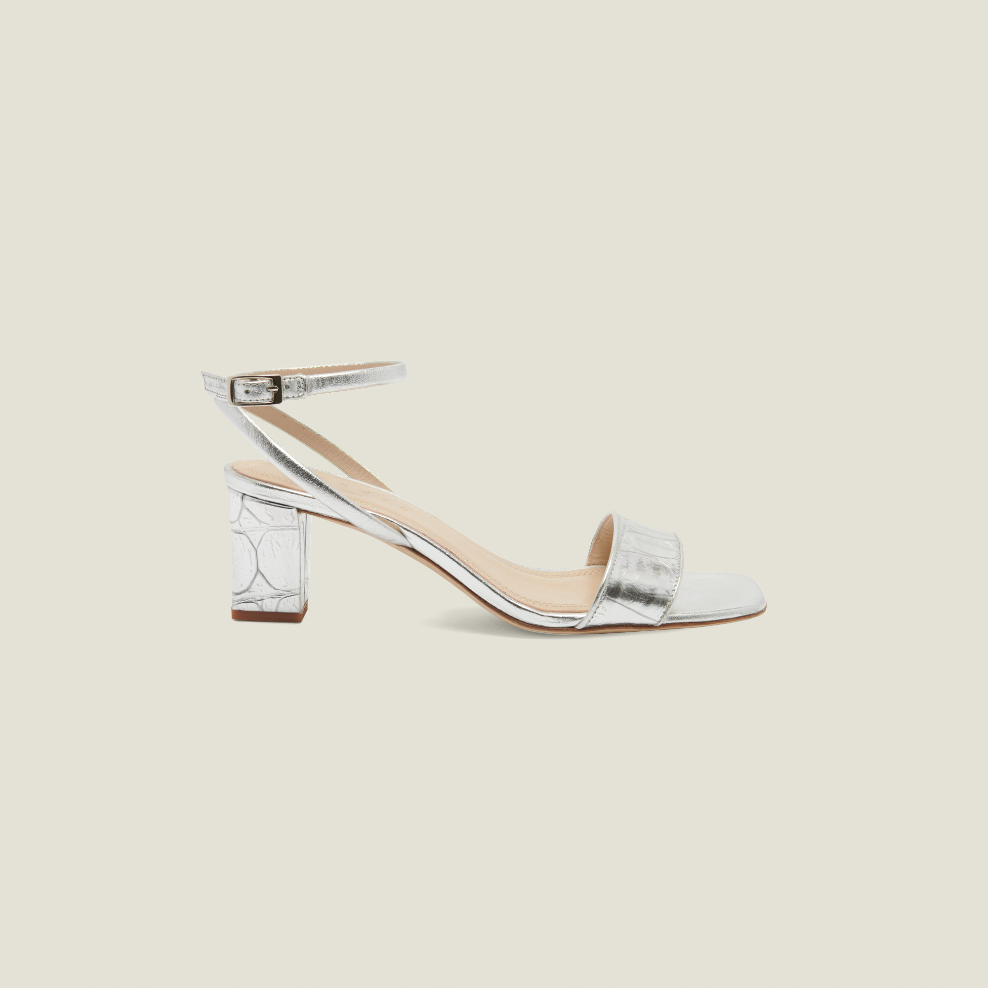 Embossed crocodile leather sandals - Silver
