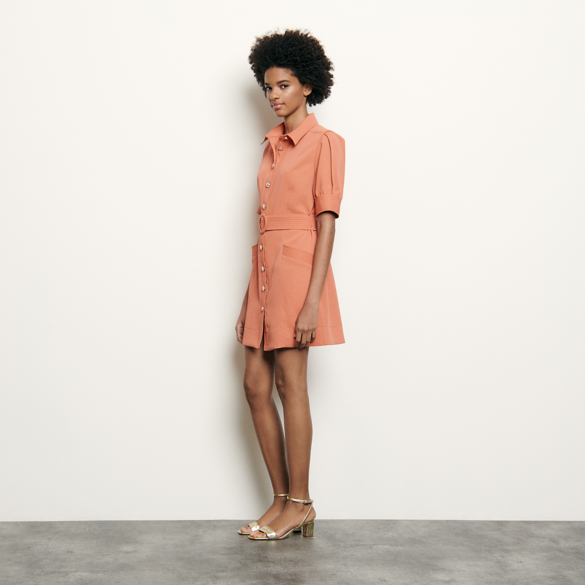 Shirt dress with decorative buttons - Peach