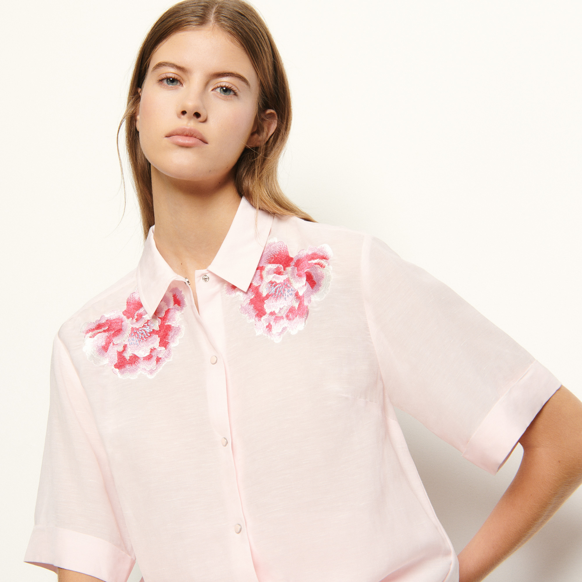 Pink linen shirt with embroidery - Pale Pink