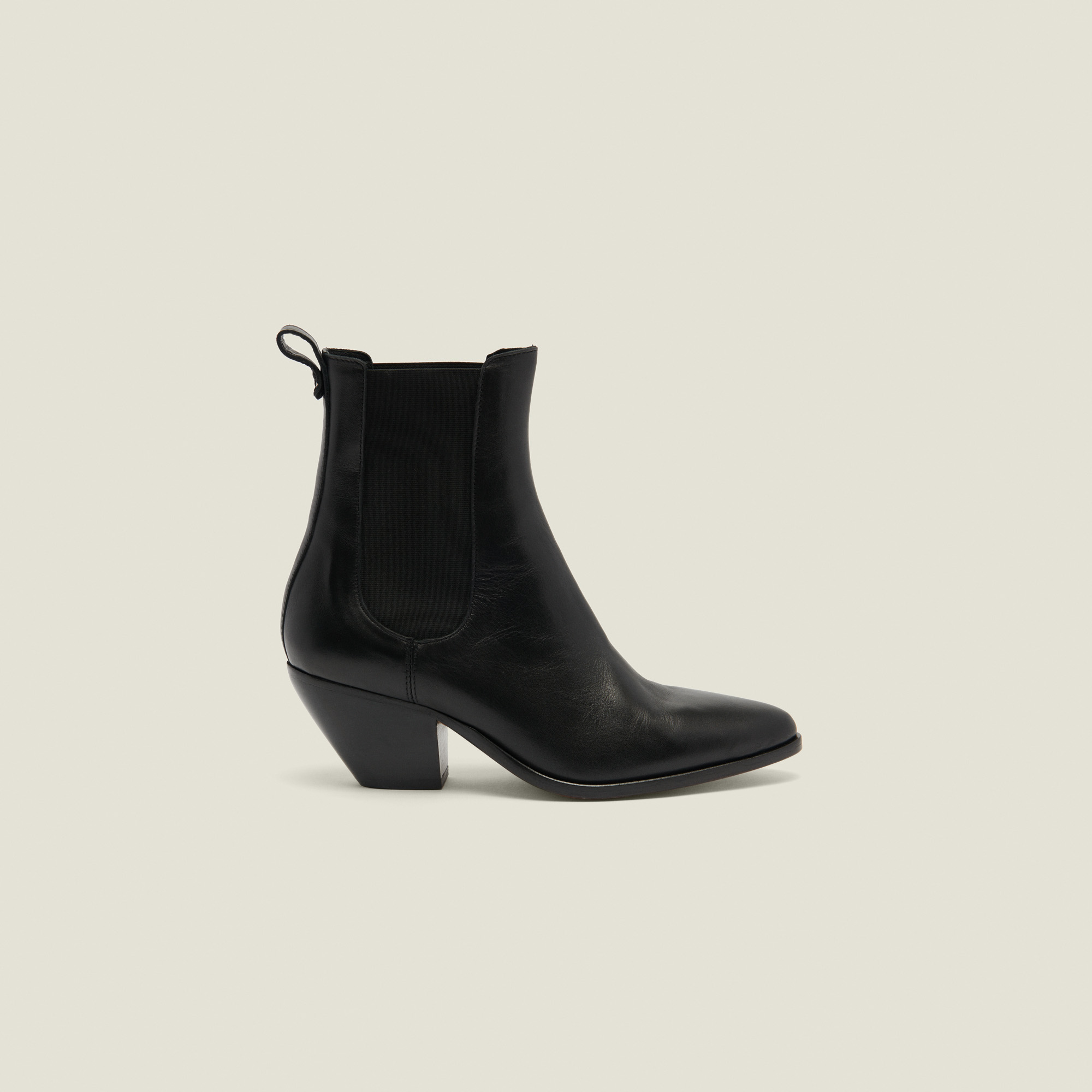Cowboy style boots with elastic - Black