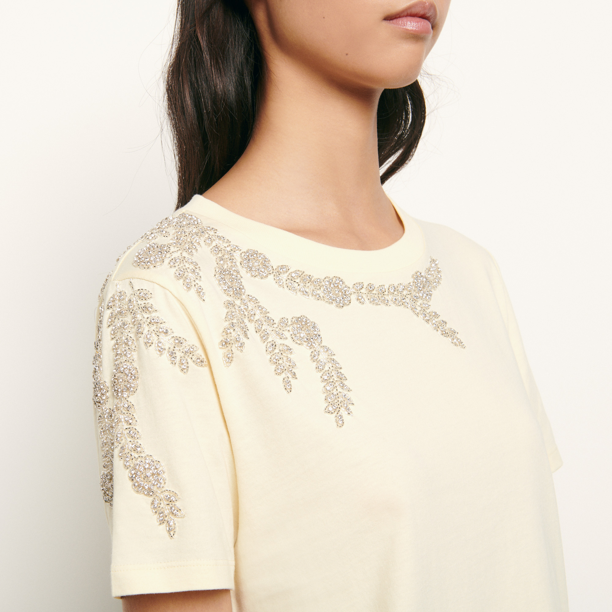 T shirt with embroidery and rhinestones - Yellow