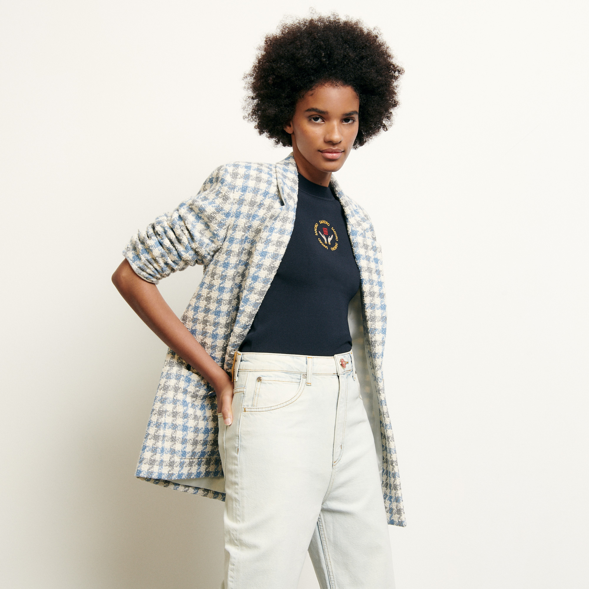 Tailored jacket in houndstooth tweed - Blue