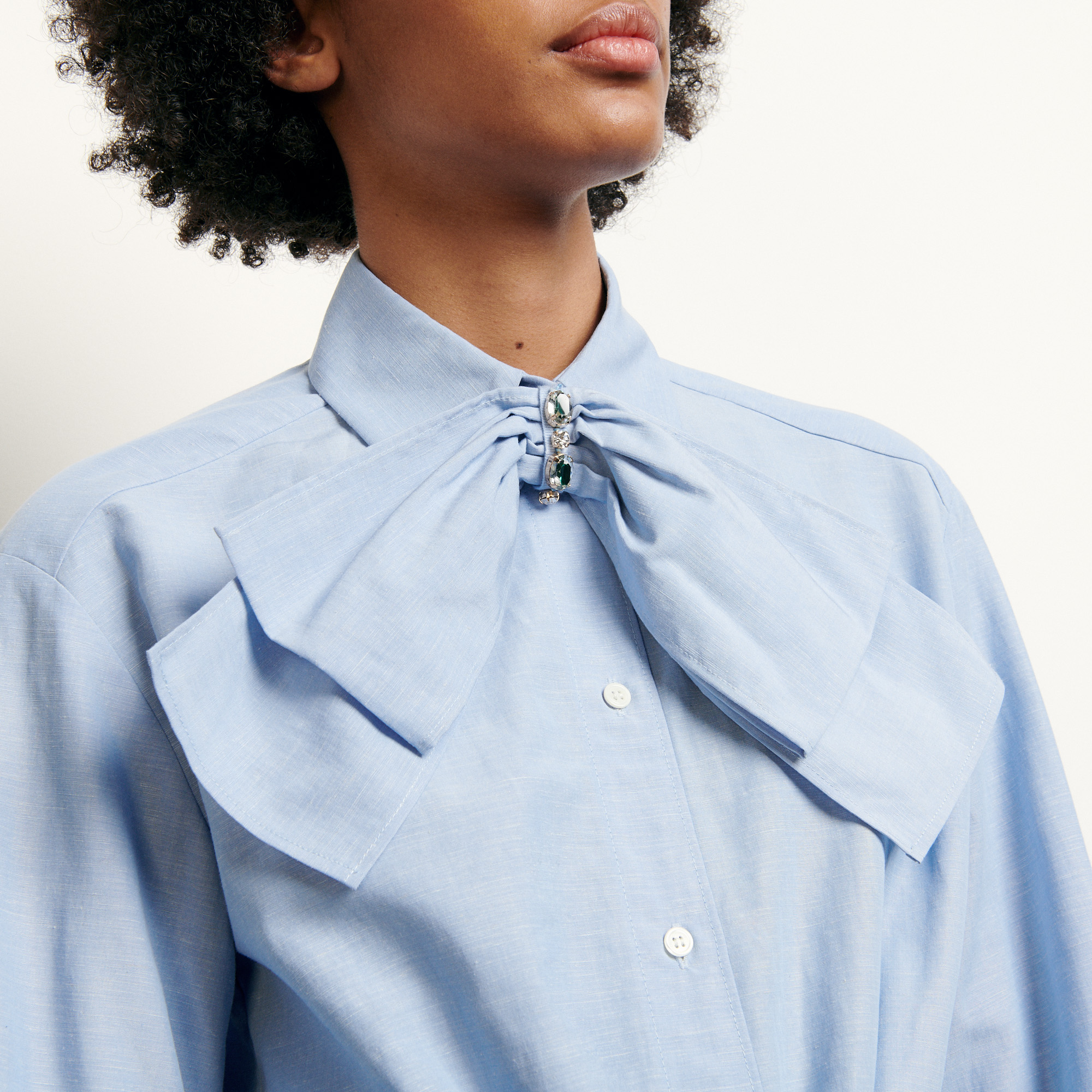 Cropped shirt with removable bow  - Blue