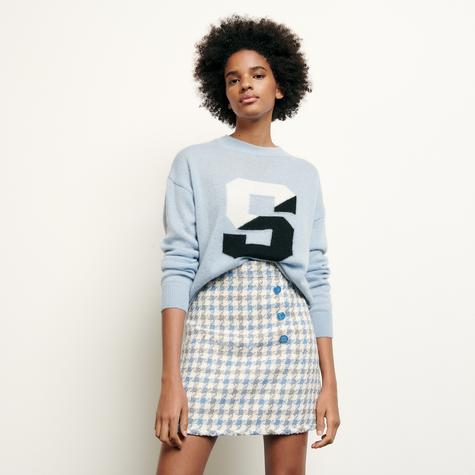 Short houndstooth tweed skirt - Blue