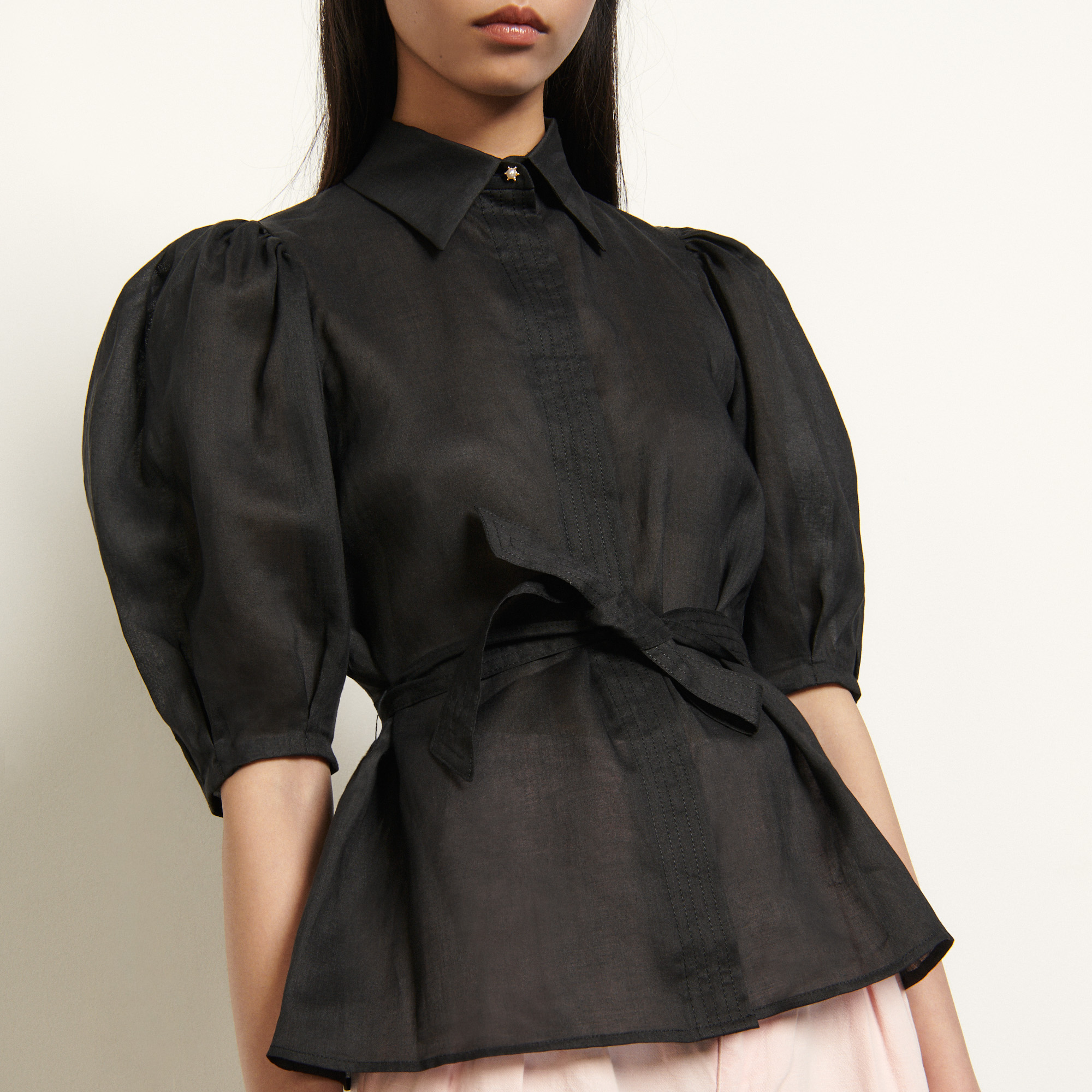 Shirt with removable belt - Black
