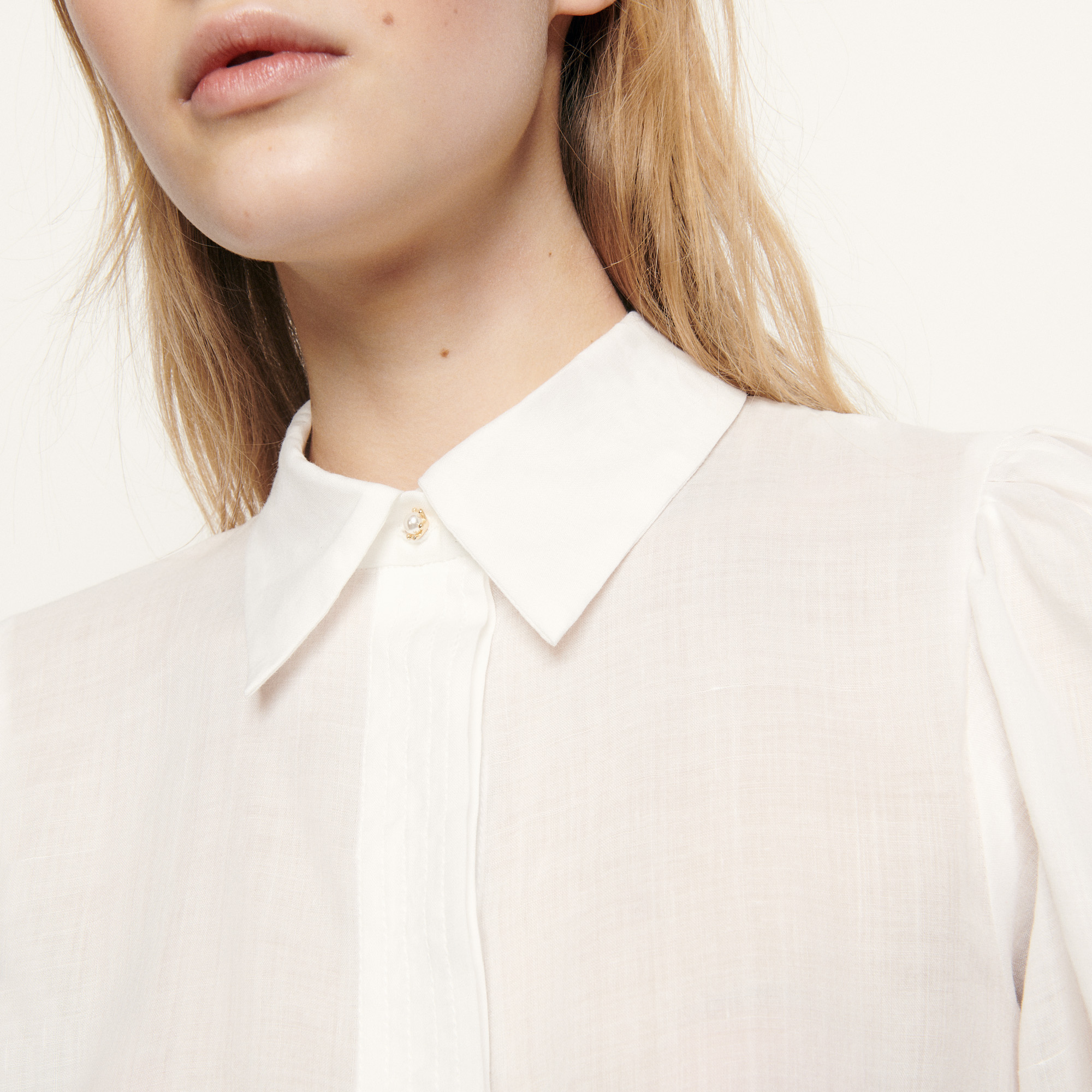 Shirt with removable belt - Ecru