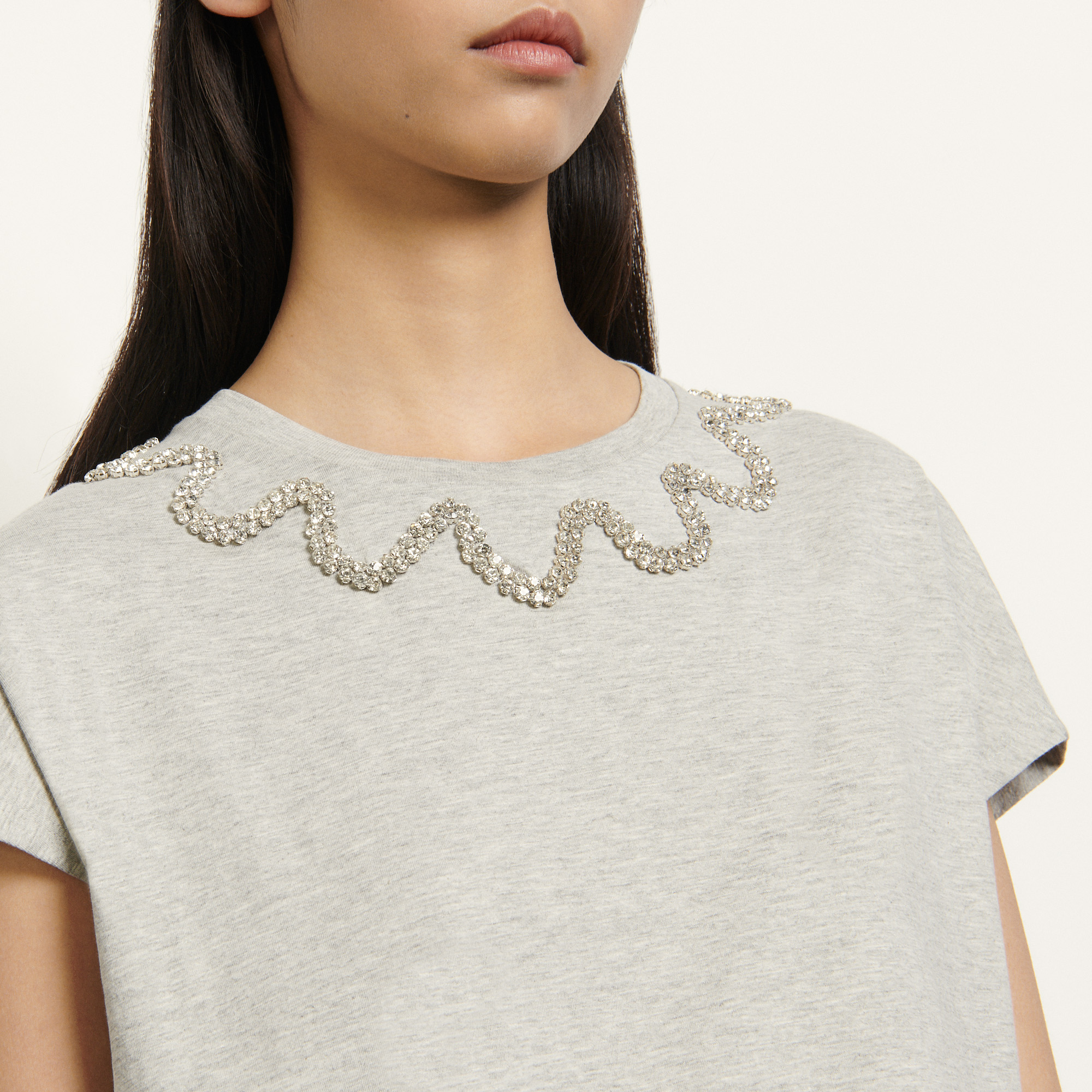 Sleeveless T shirt with rhinestones - Grey