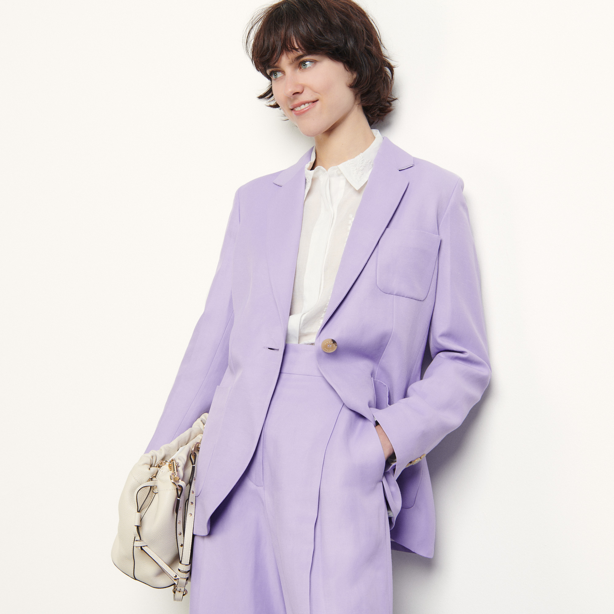 Linen blend tailored jacket  - Purple
