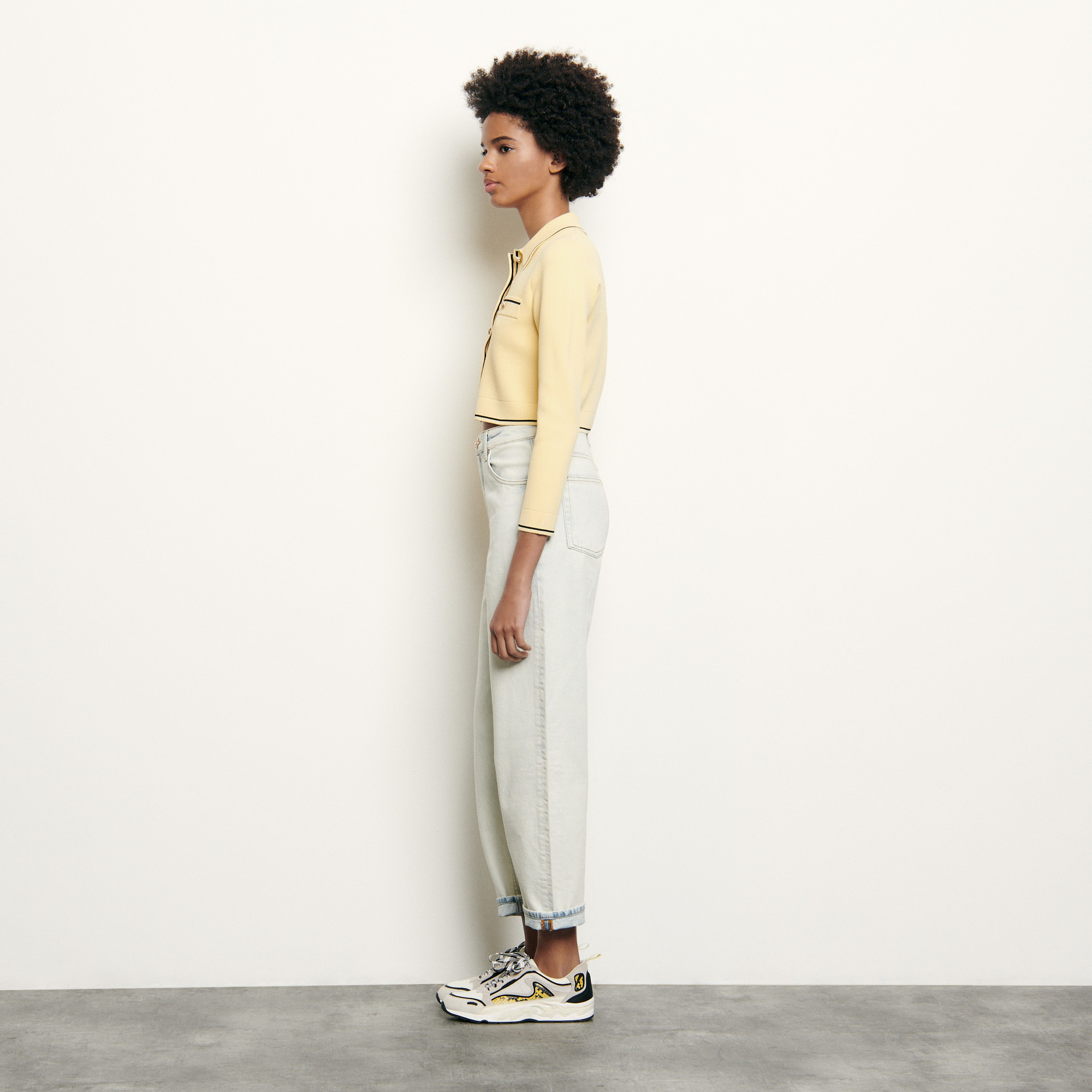 Yellow cropped cardigan with shirt collar - Yellow