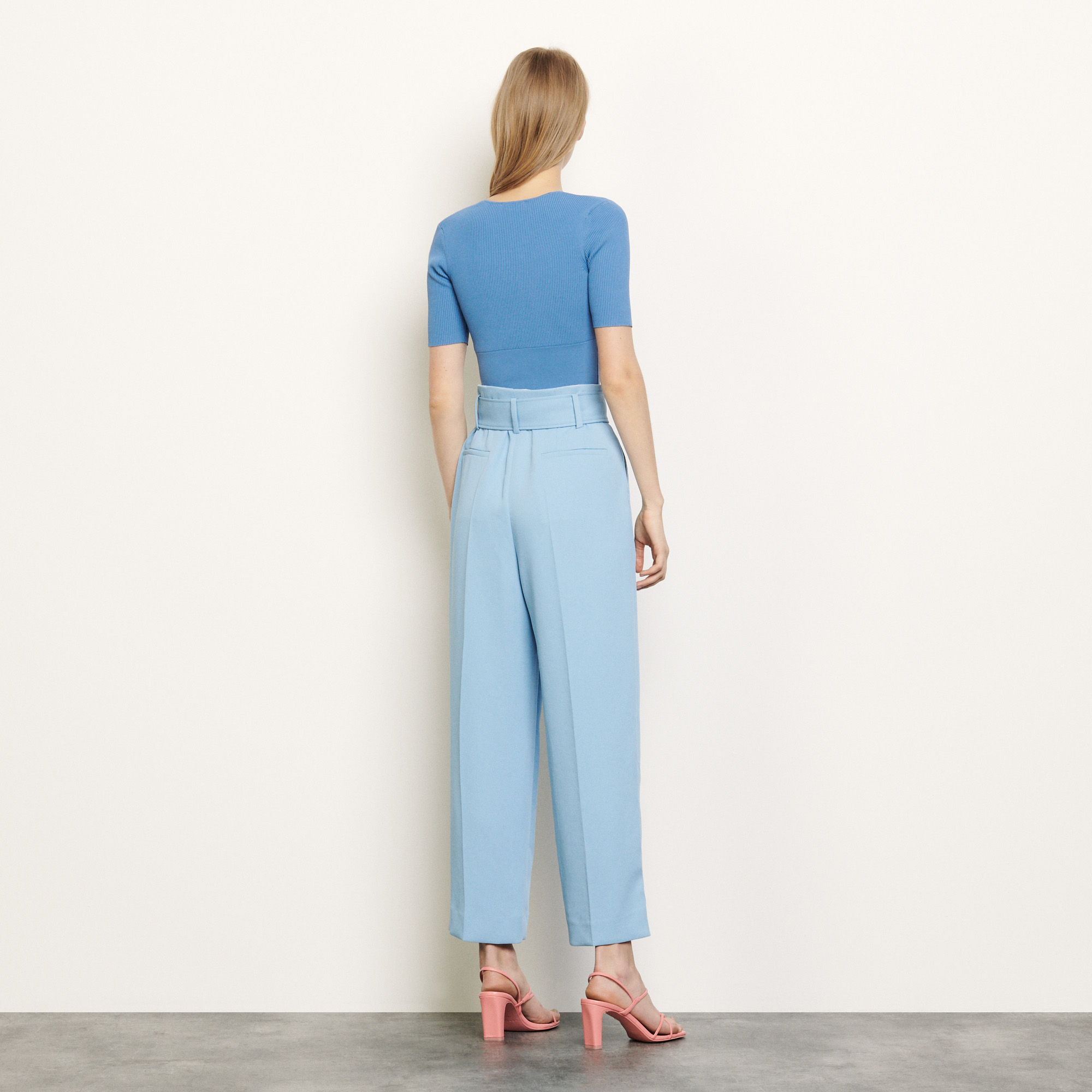 Wide leg trousers with a belt - Blue