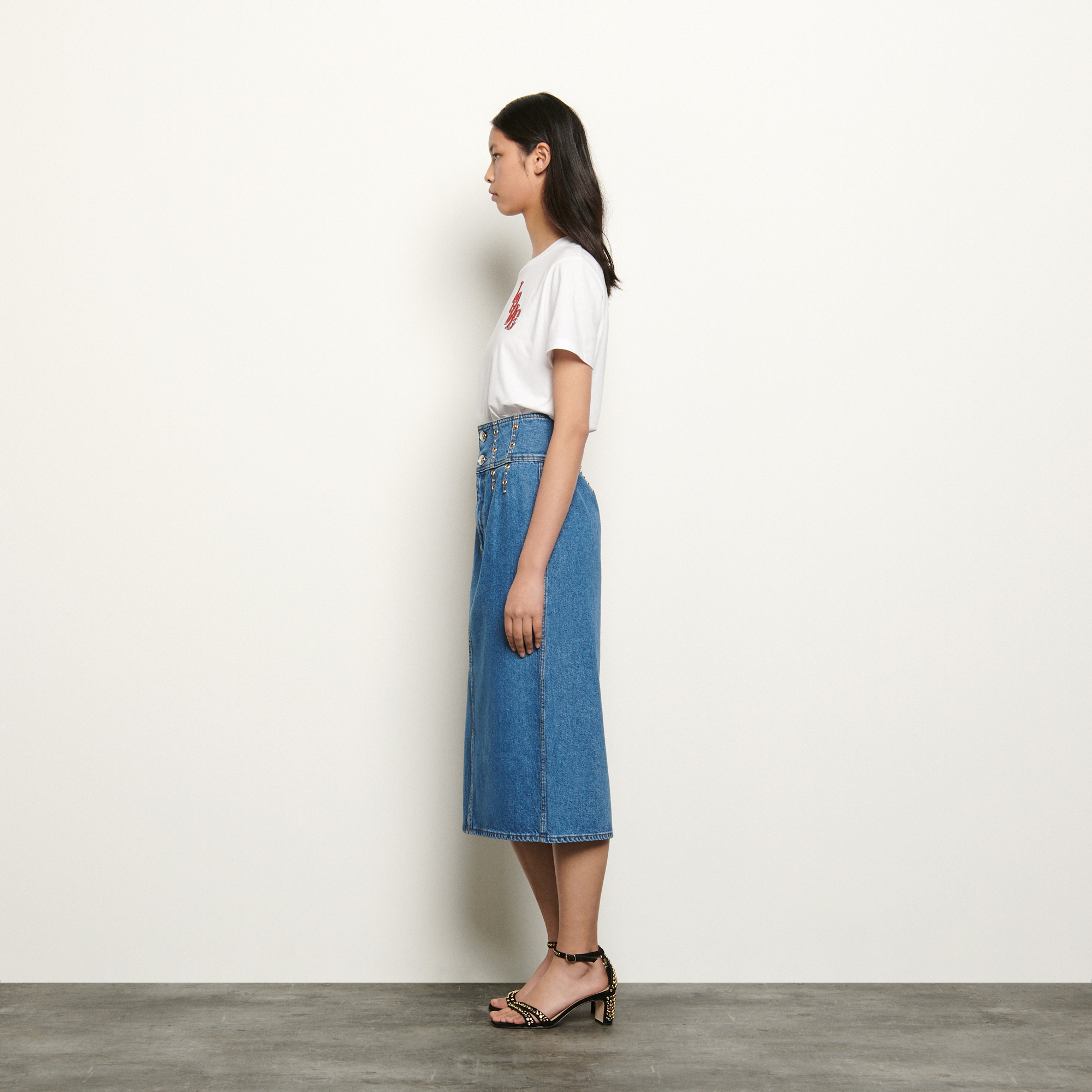 Long denim skirt - Blue