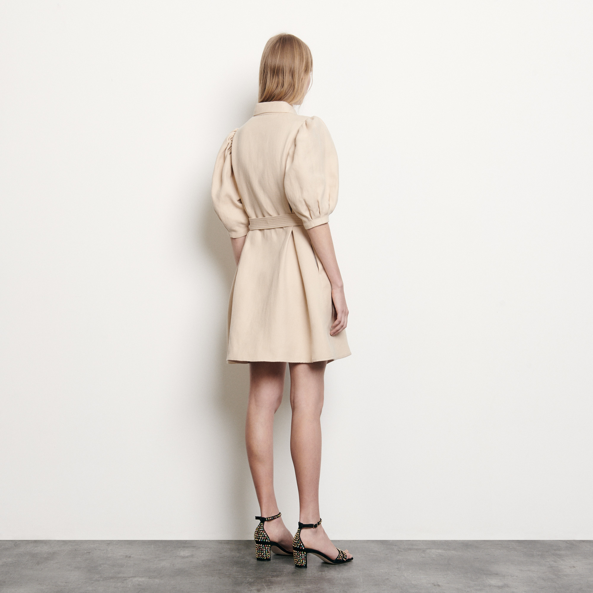 Coat dress in cotton and linen - Beige