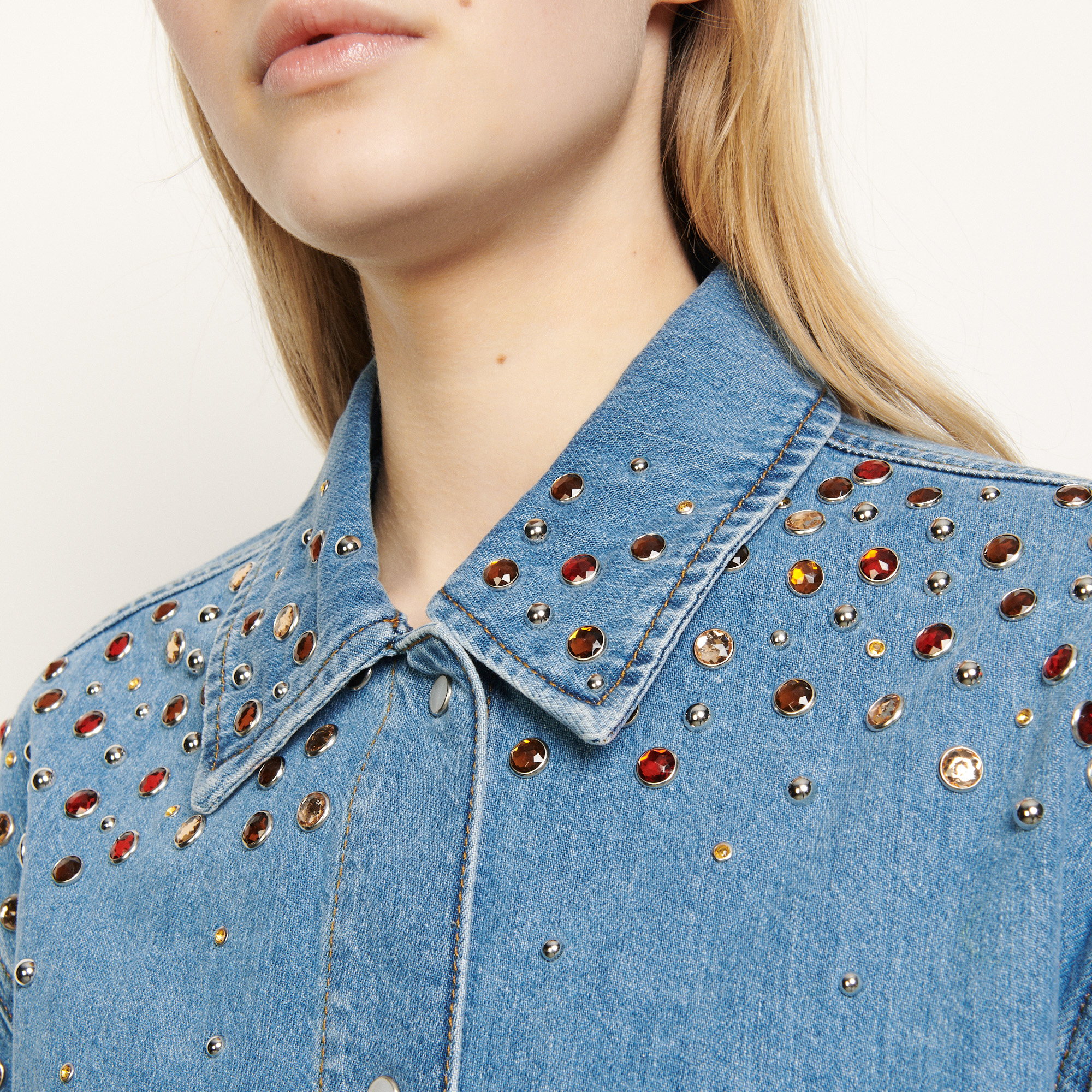 Denim shirt with coloured rhinestones - Blue