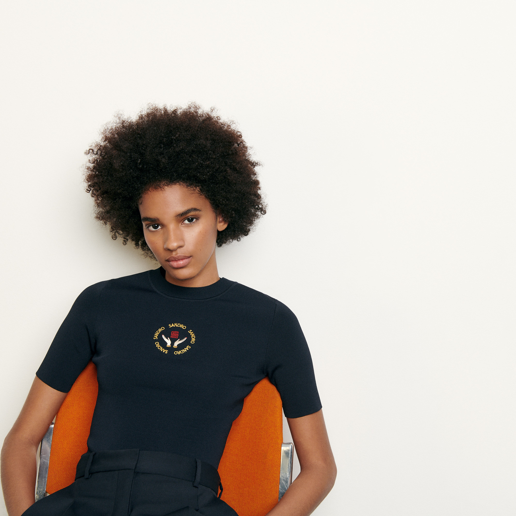 Knit top with embroidery - Navy
