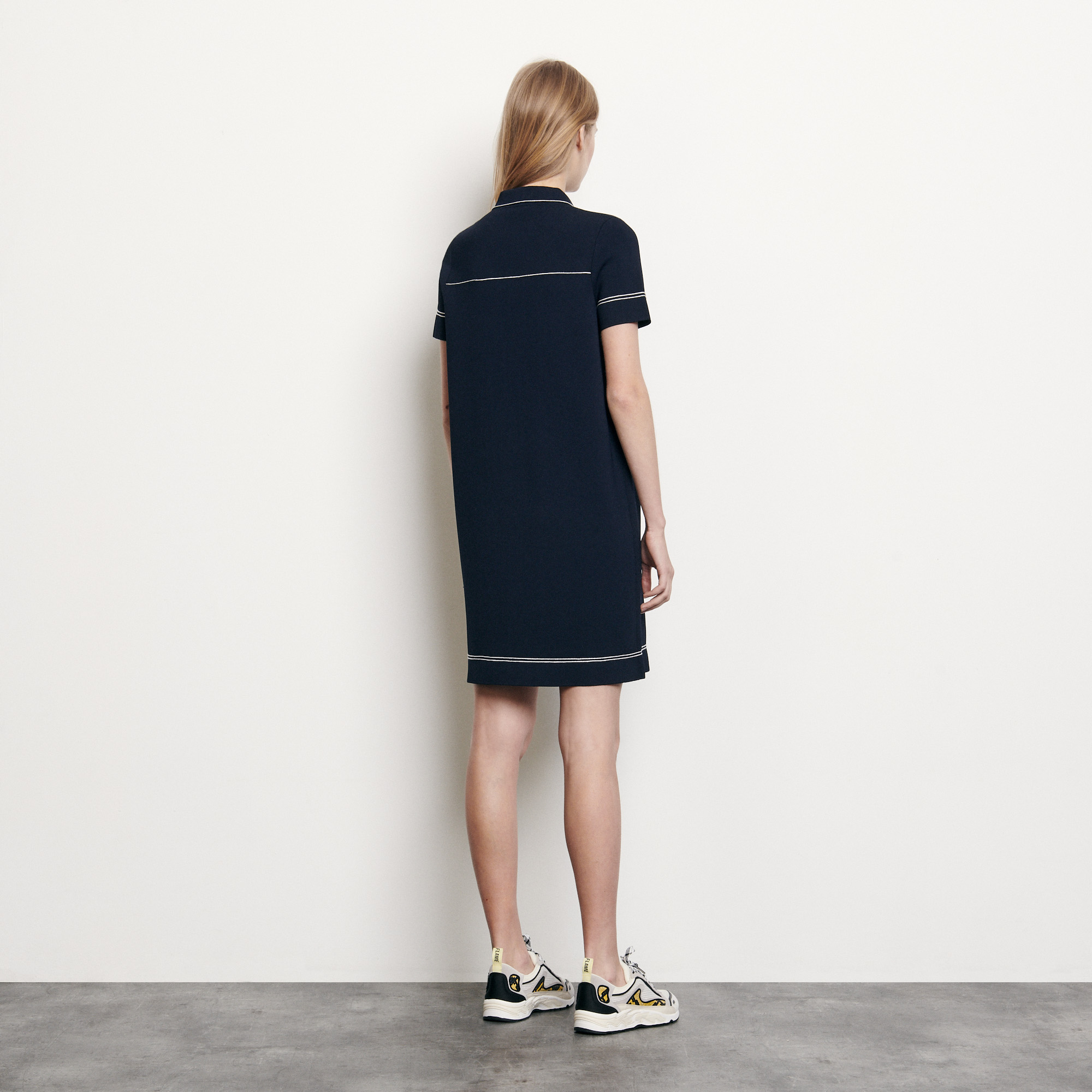 Knit dress with contrasting topstitching - Navy
