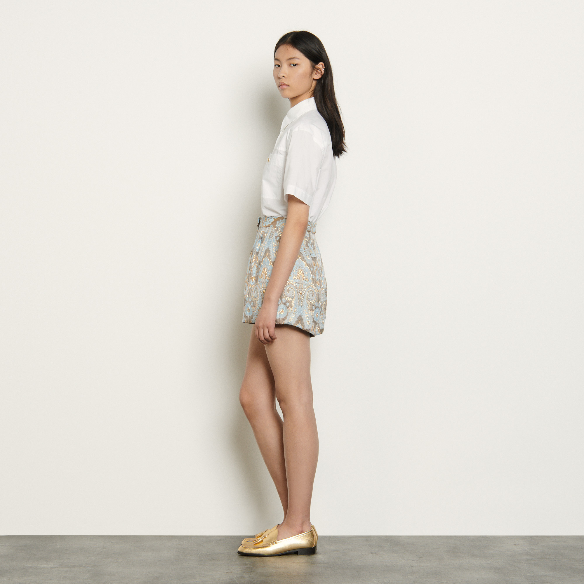 Flared brocade shorts - Multiclr