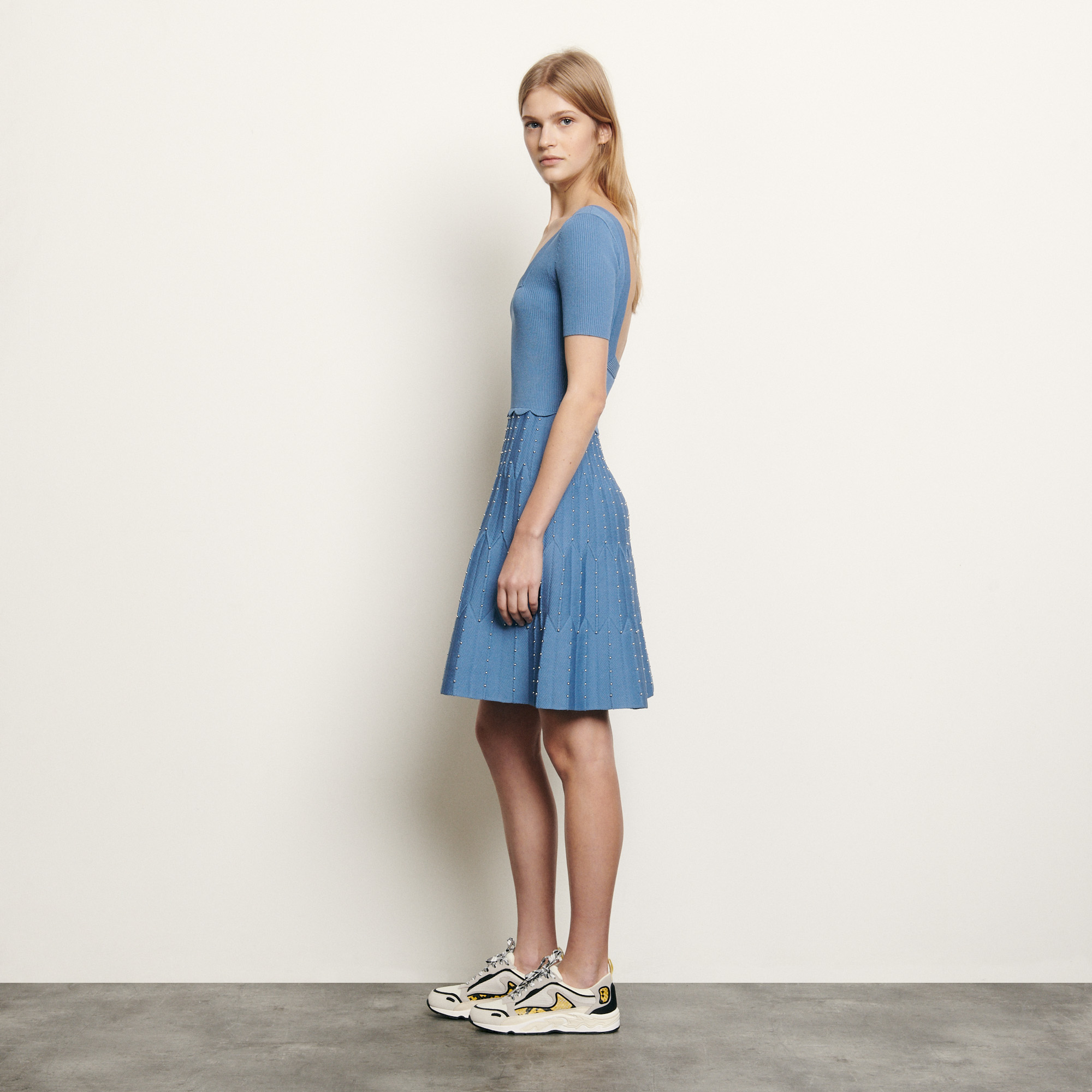 Knit dress with square neckline - Blue