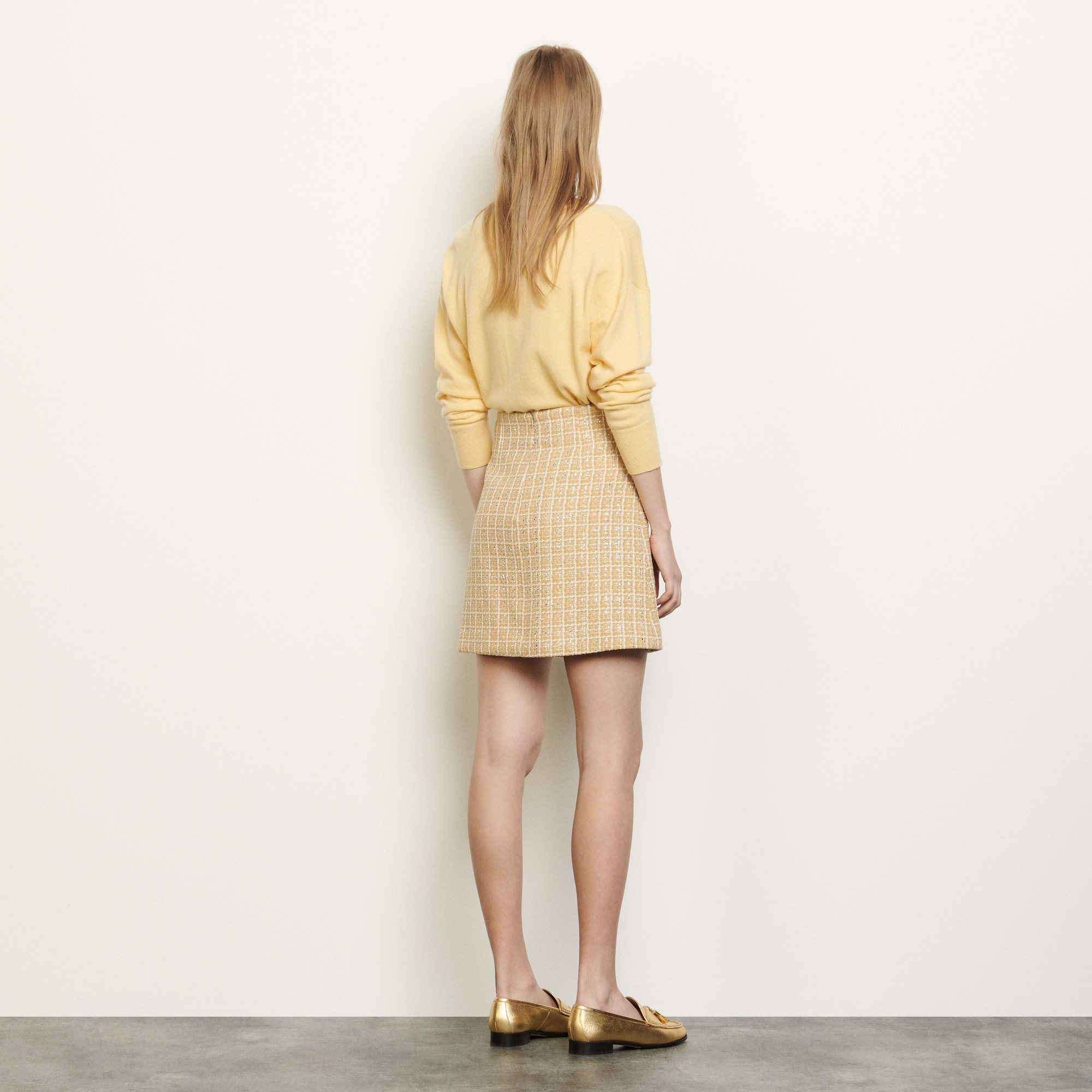 Short tweed skirt - Beige
