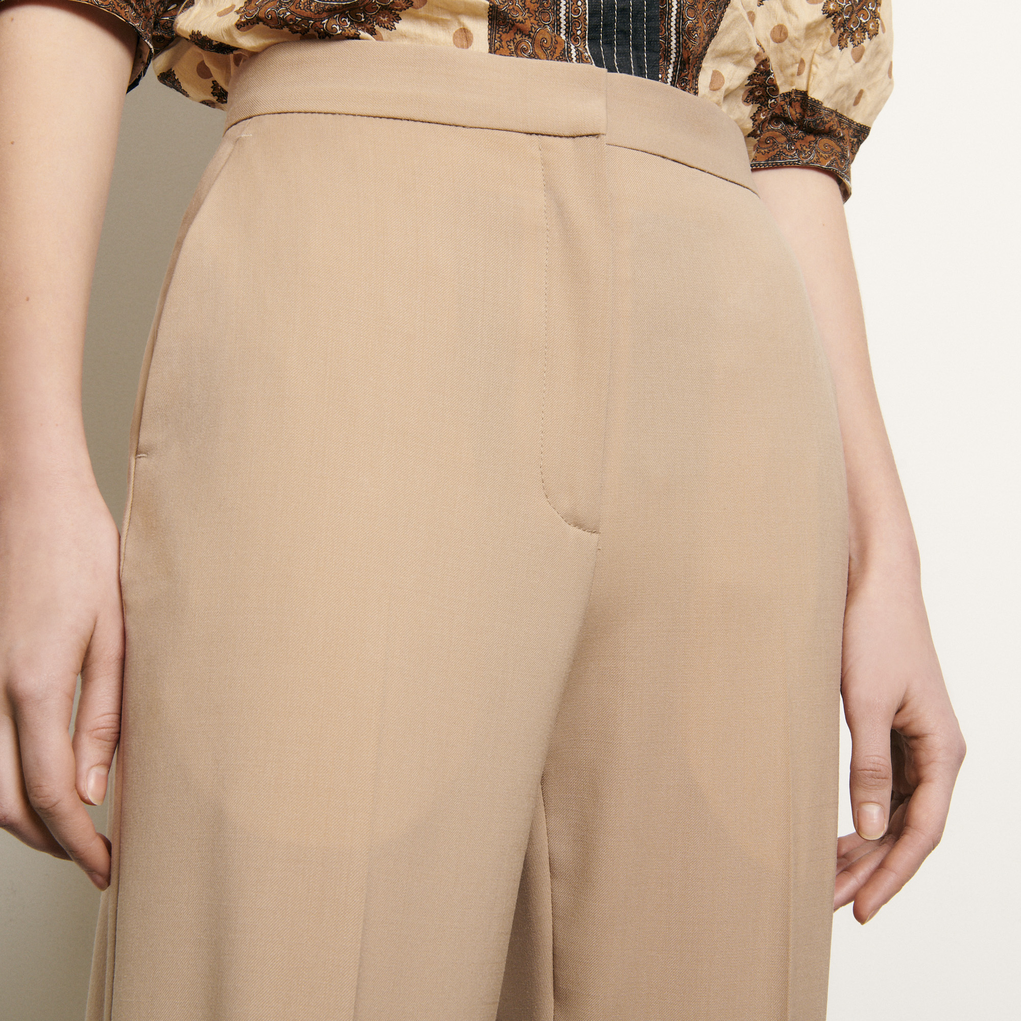 Straight cut tailored trousers - Beige