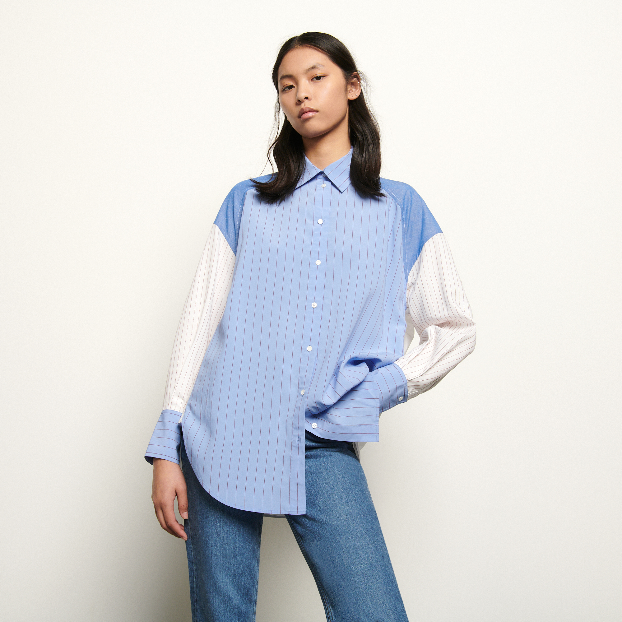 Oversized striped patchwork shirt - Multiclr