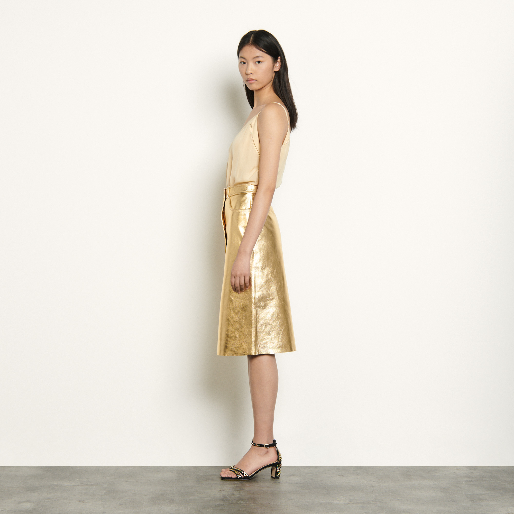 Metallic leather skirt - Gold