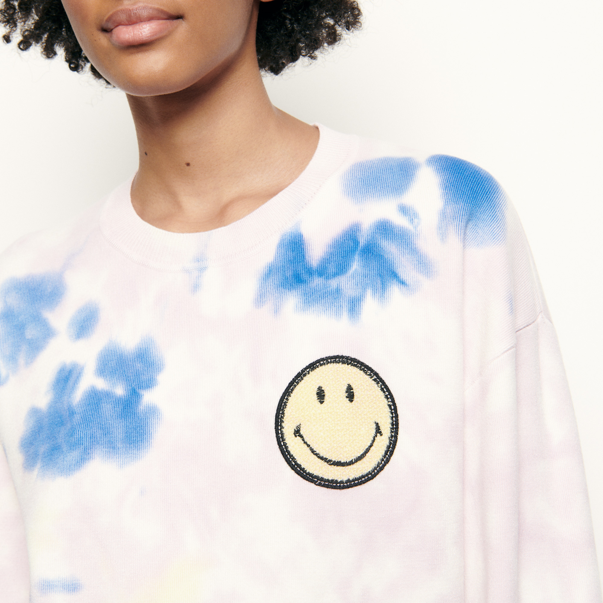 Tie dyed sweater with embroidered smiley - Multiclr