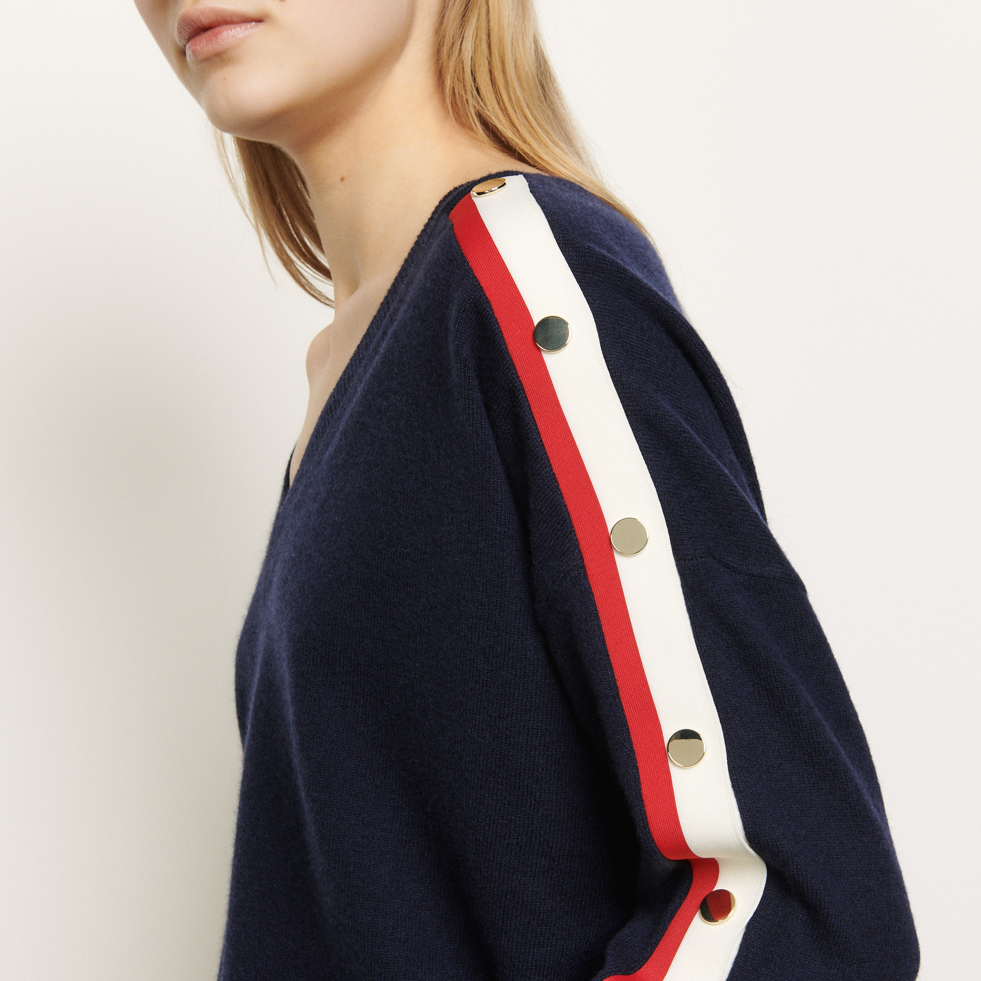 Navy wool and cashmere sweater - Navy