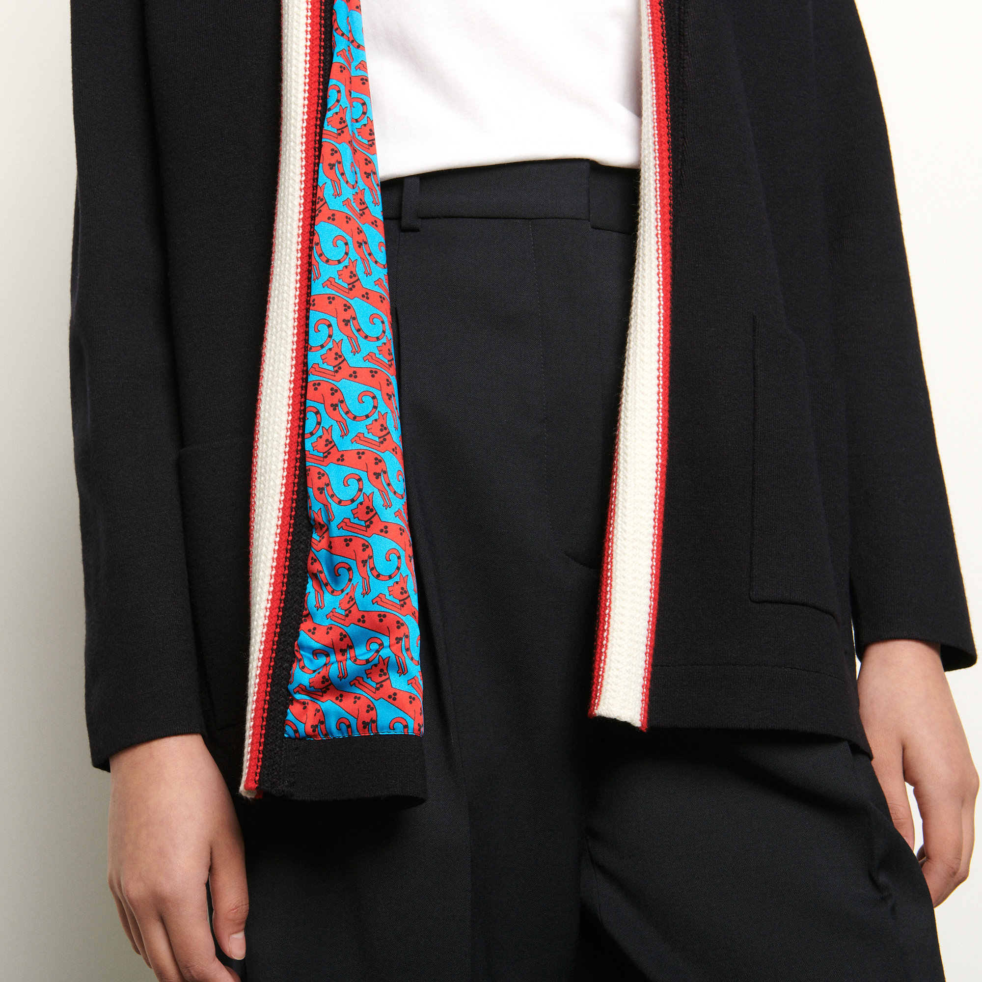 Cardigan with printed lining - Black