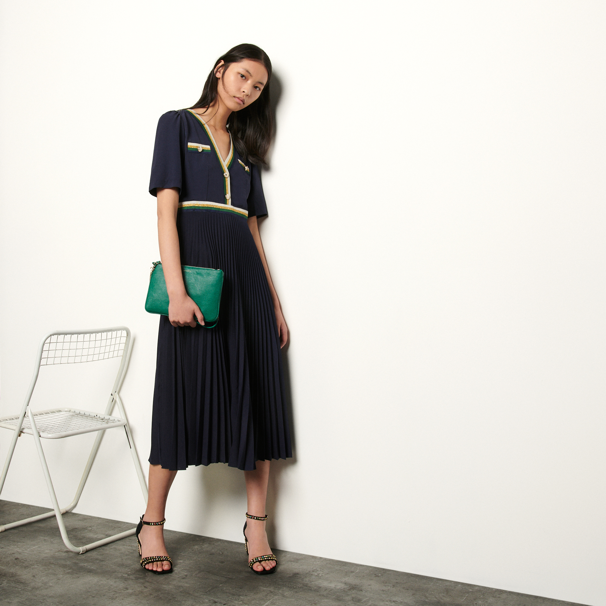 Long pleated dress with short sleeves - Navy