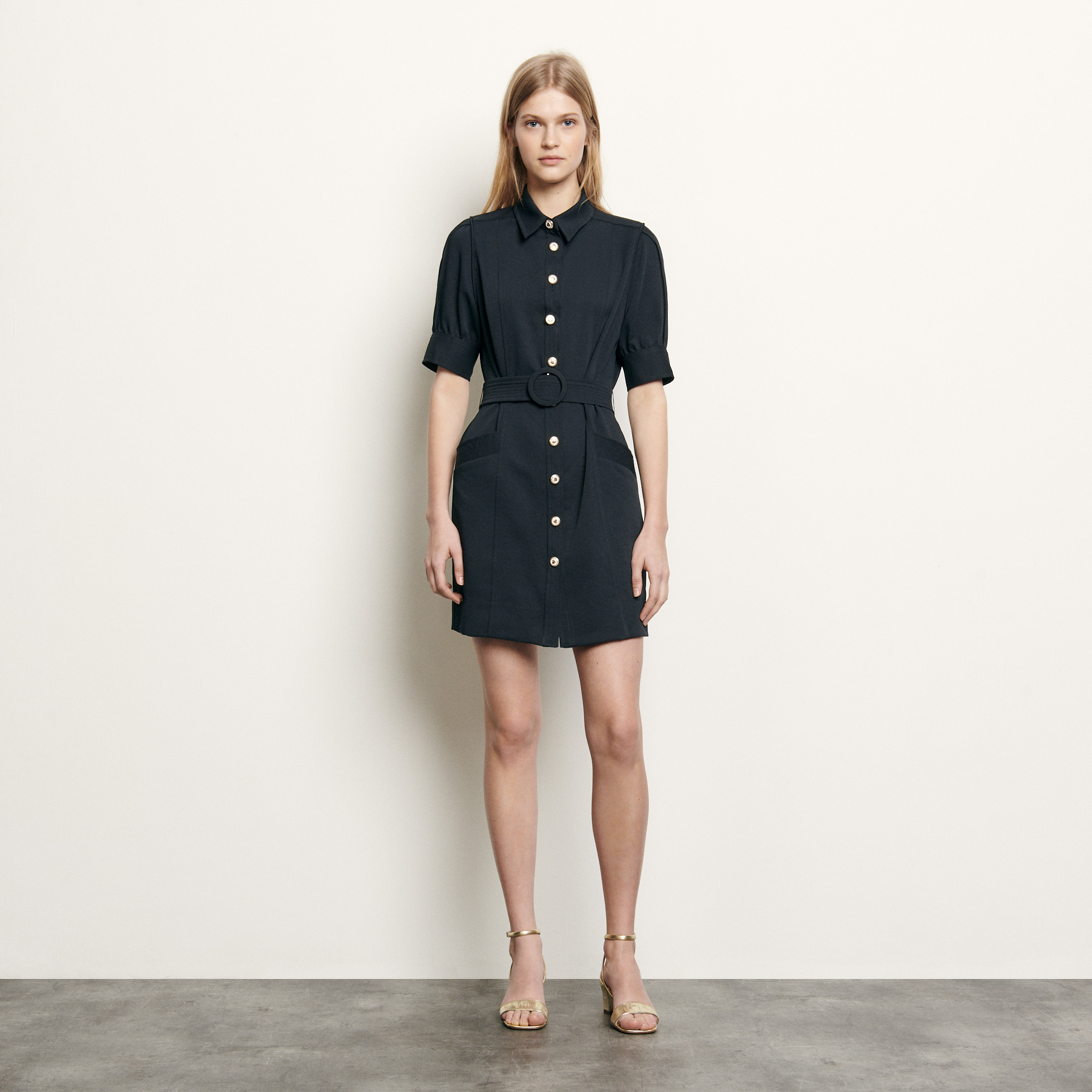 Shirt dress with decorative buttons - Navy