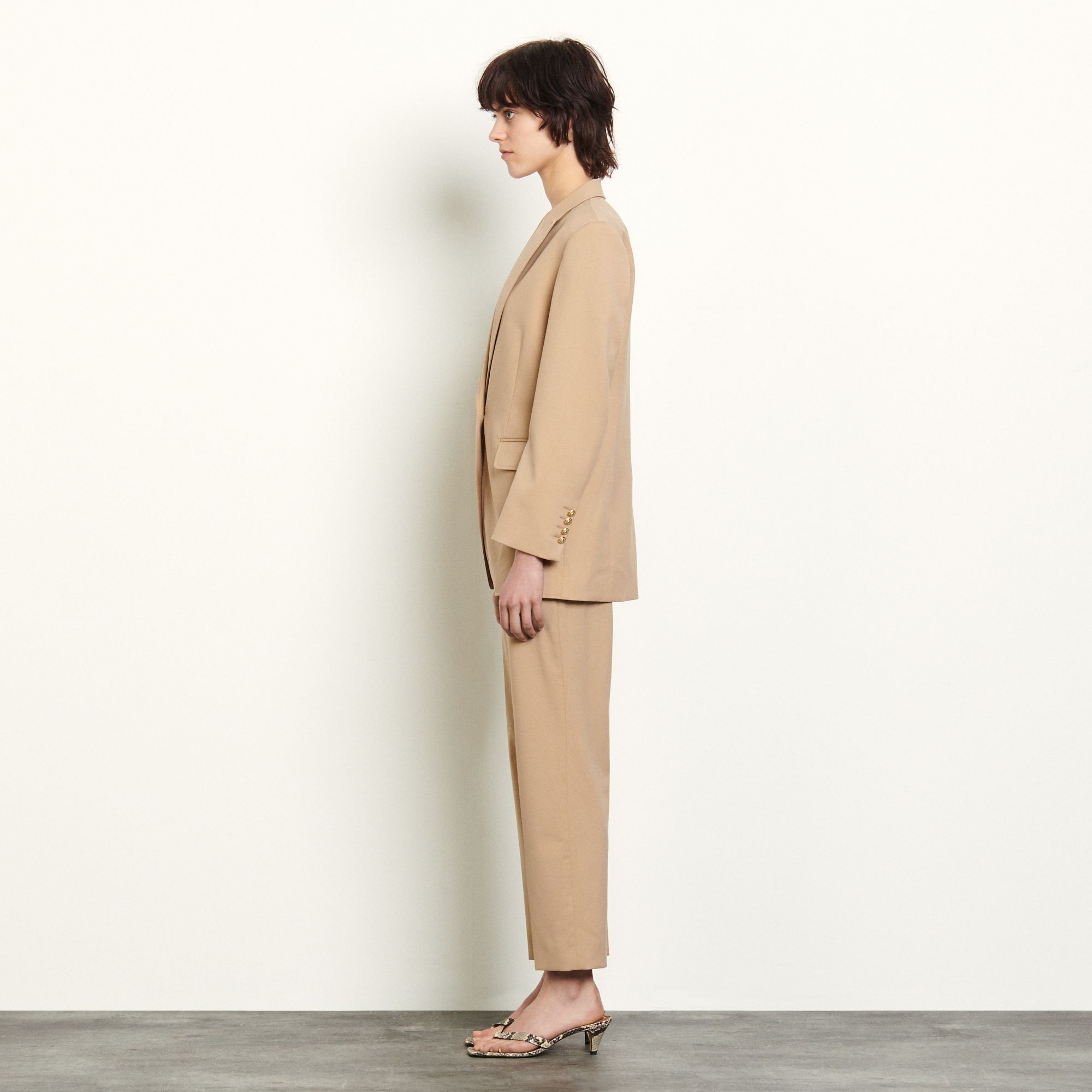 Tailored jacket with darts - Beige