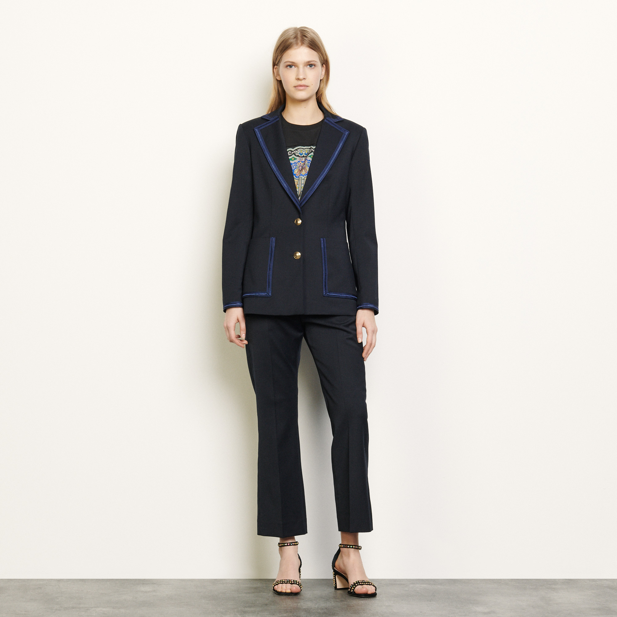 Tailored jacket with braid trims - Navy