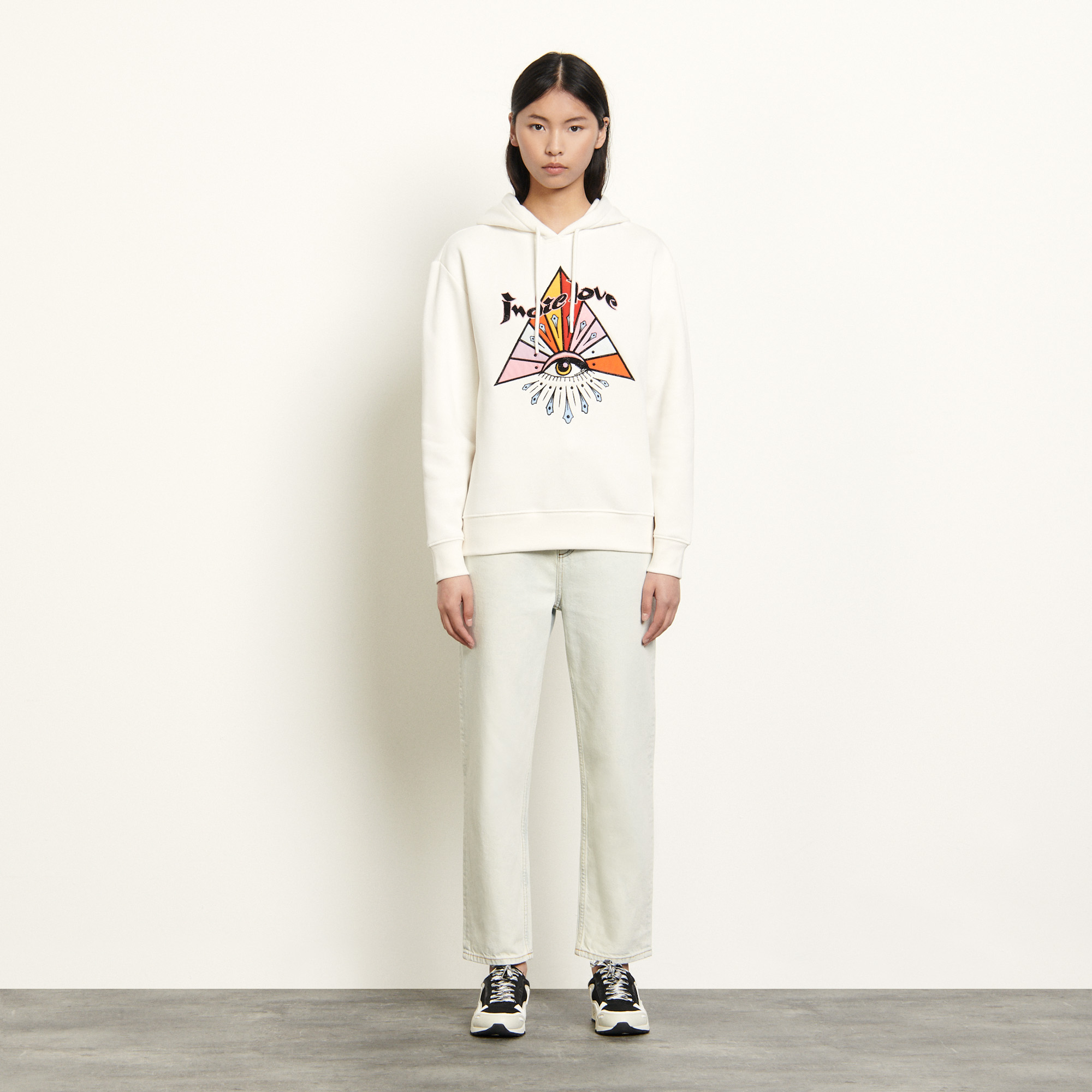 Embroidered hoodie - White