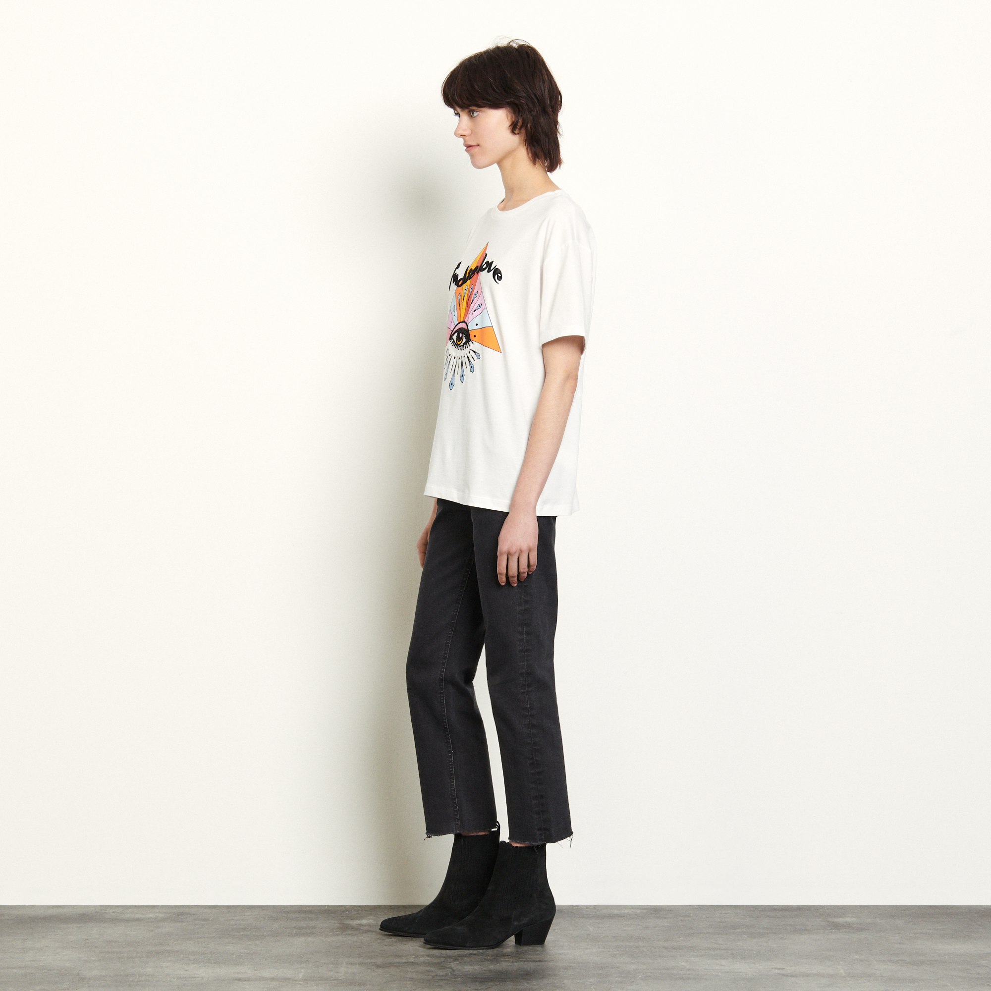 T shirt with motifs and embroidery - White