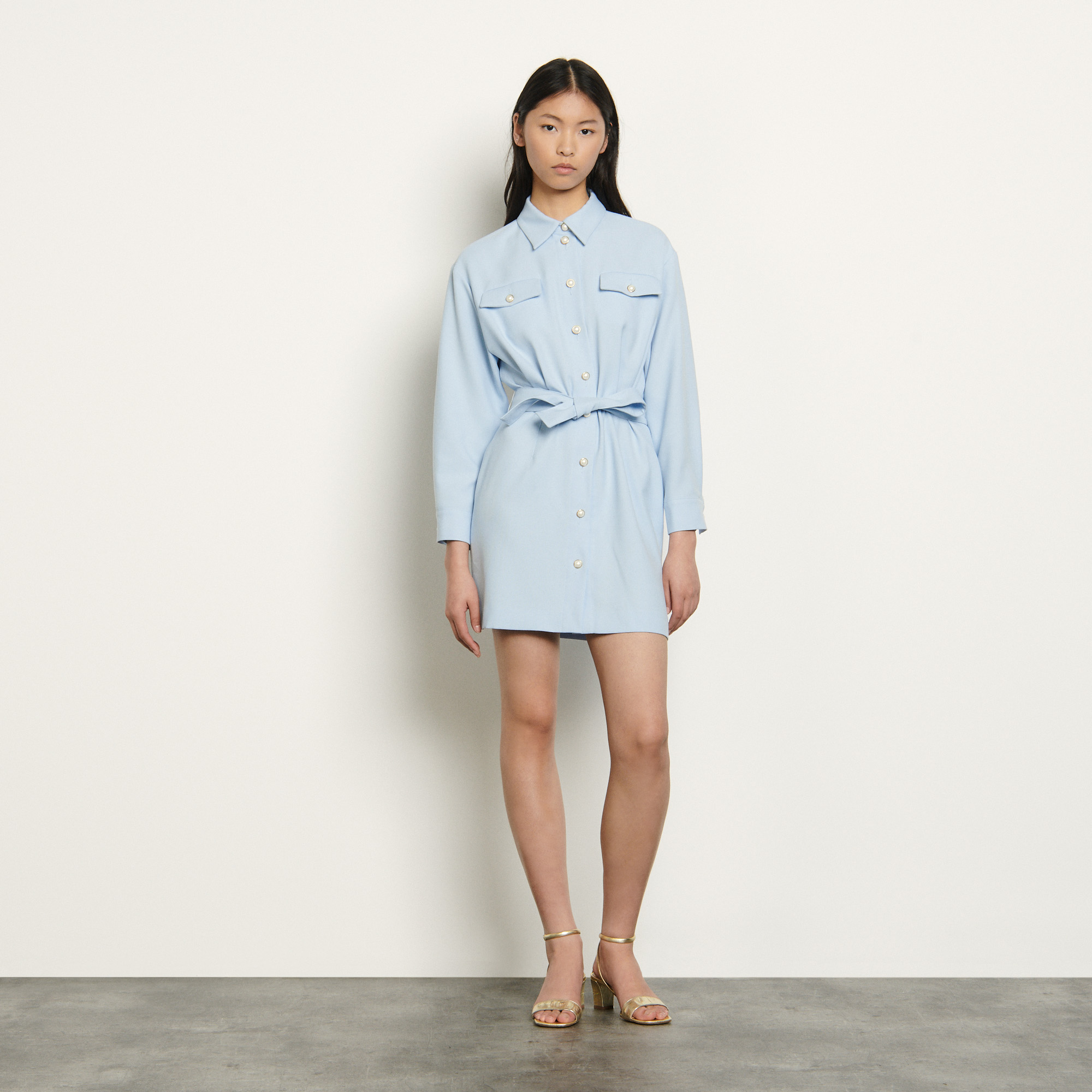 Shirt dress with decorative buttons  - Blue