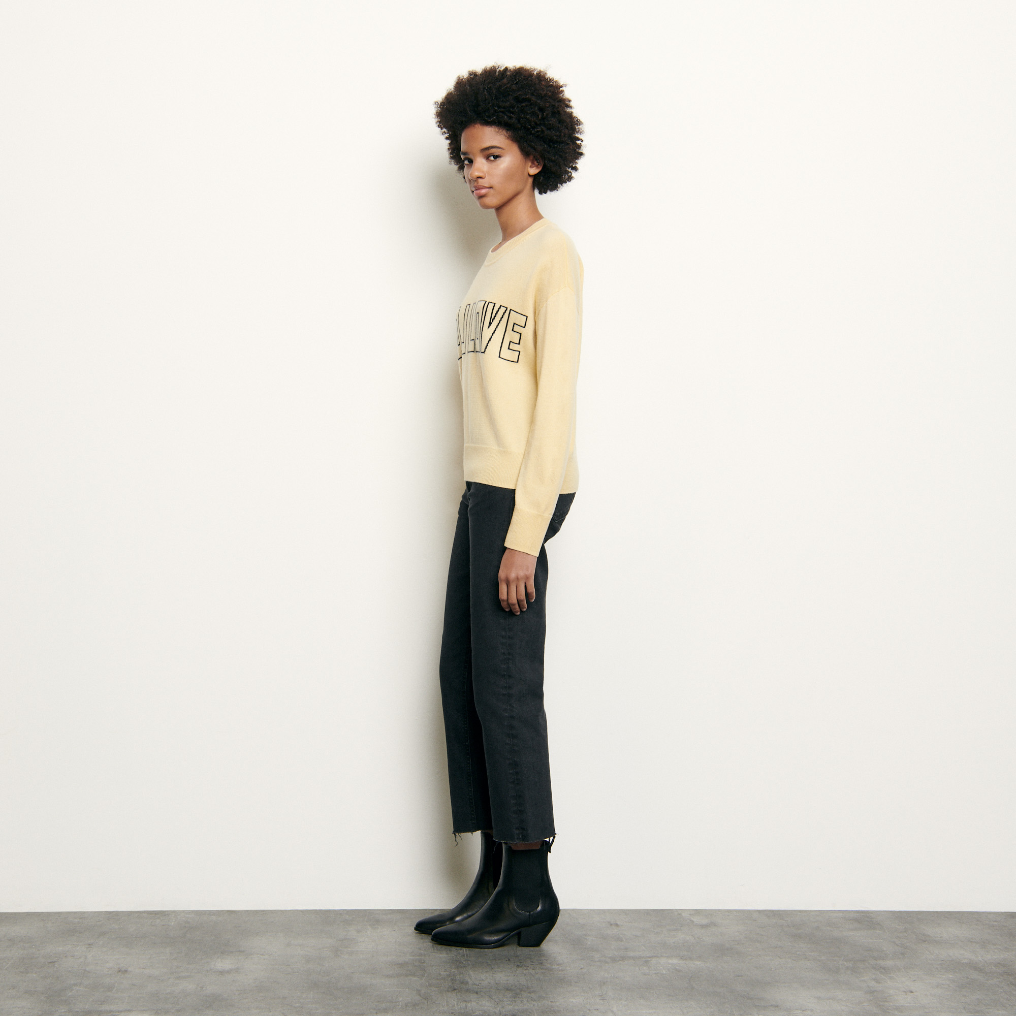 Wool and cashmere sweater with message - Yellow