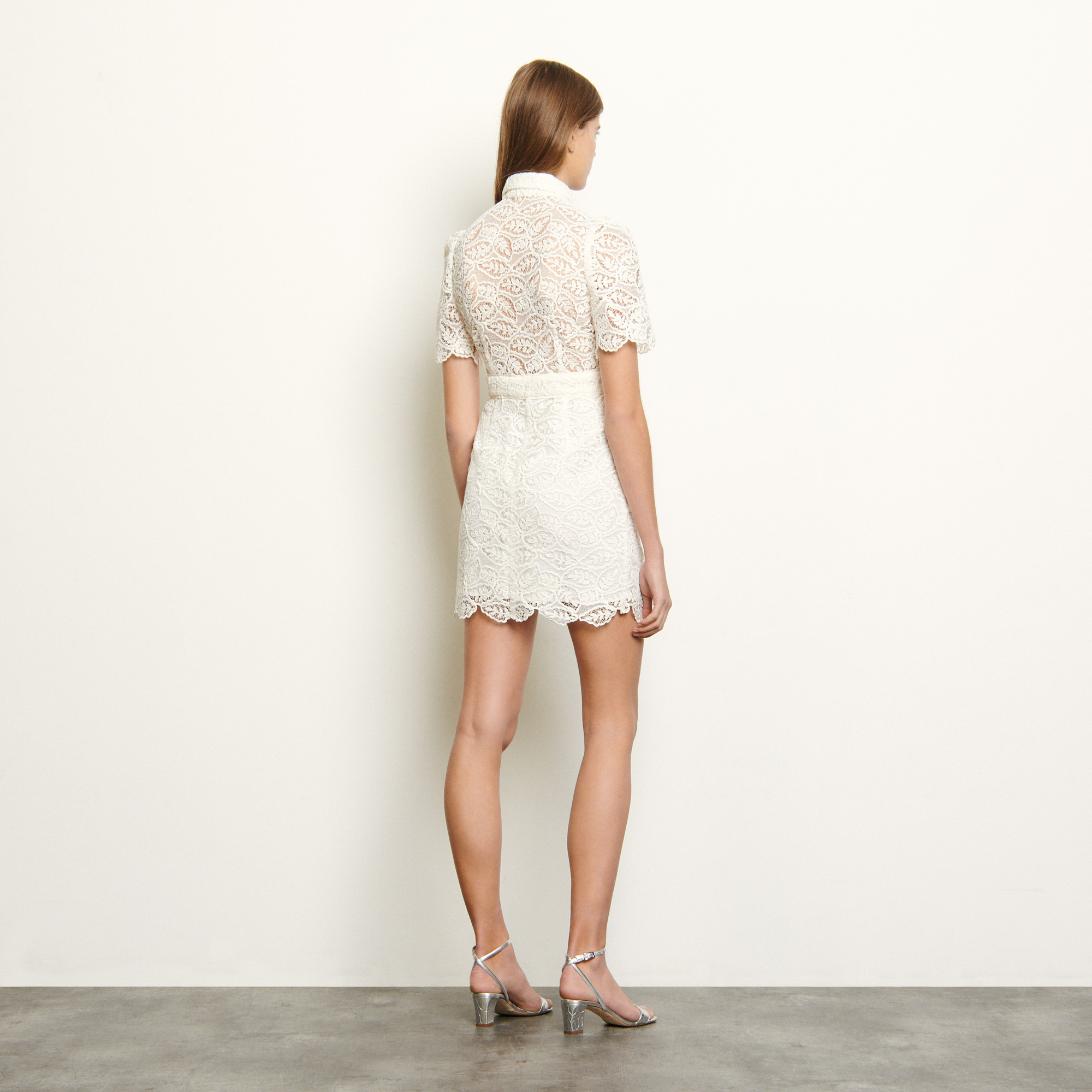 Short lace dress  - Ecru