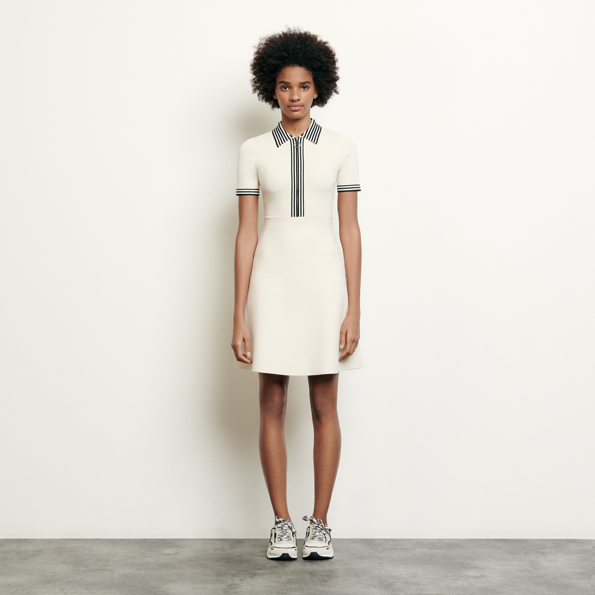 Polo style knitted dress - Ecru
