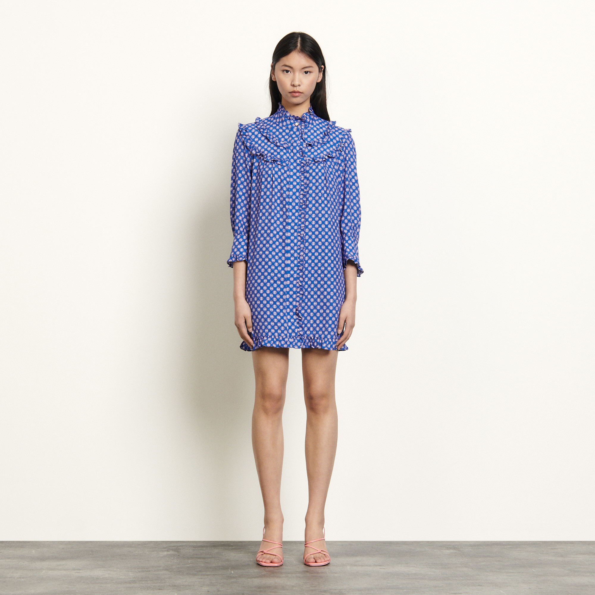Long sleeved short printed dress - Blue