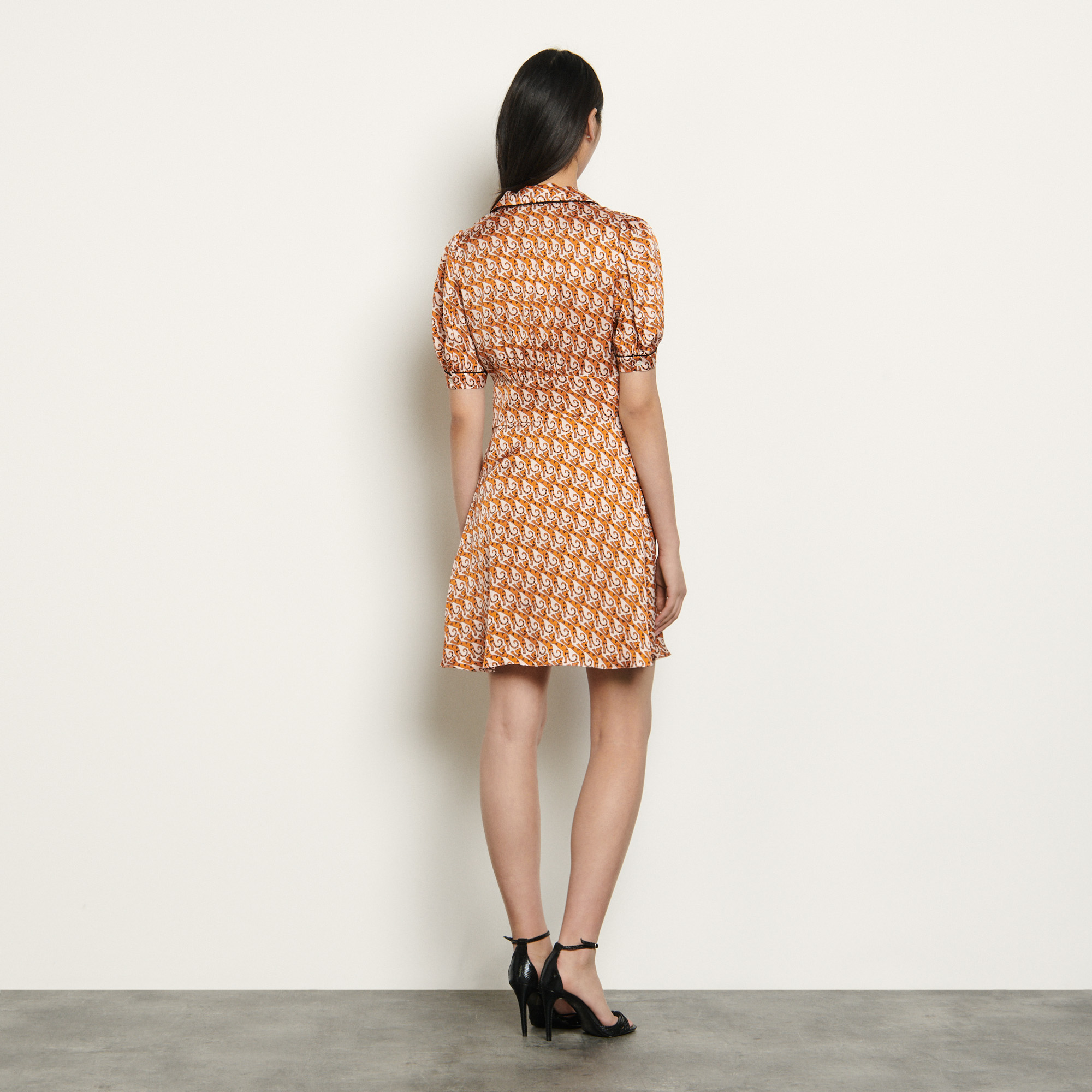 Short printed dress  - Nude
