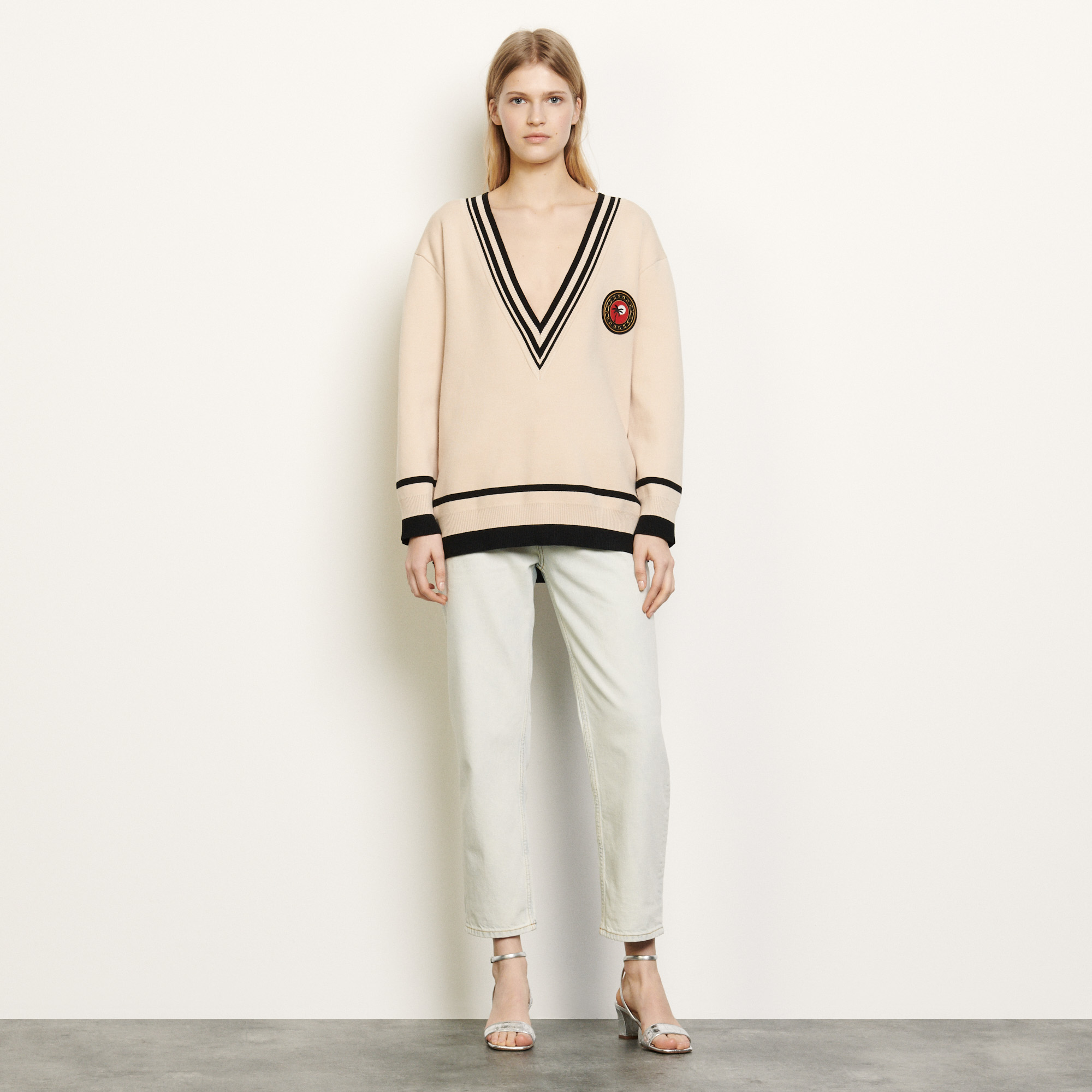 Oversized jumper with contrasting finish - Multiclr