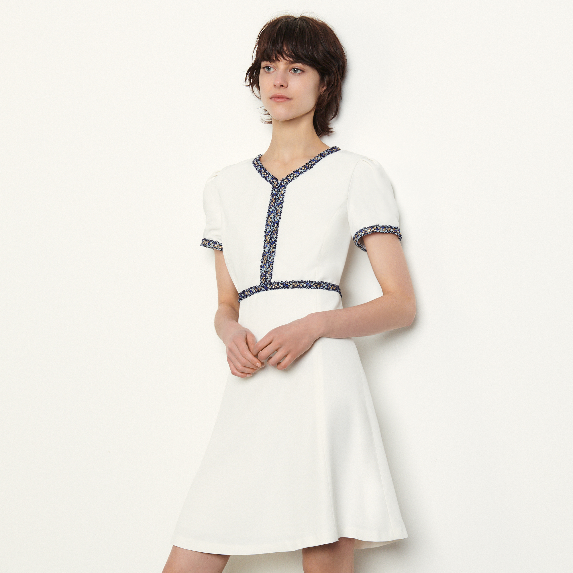 Short dress with fringed trim - White