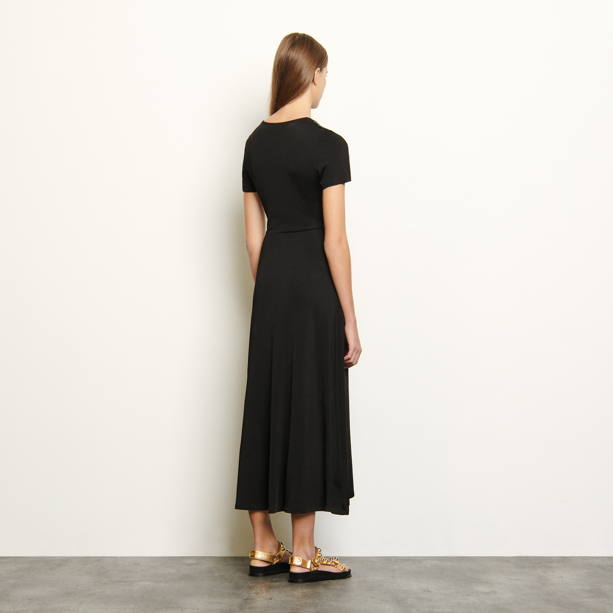 Jersey dress with insert - Black