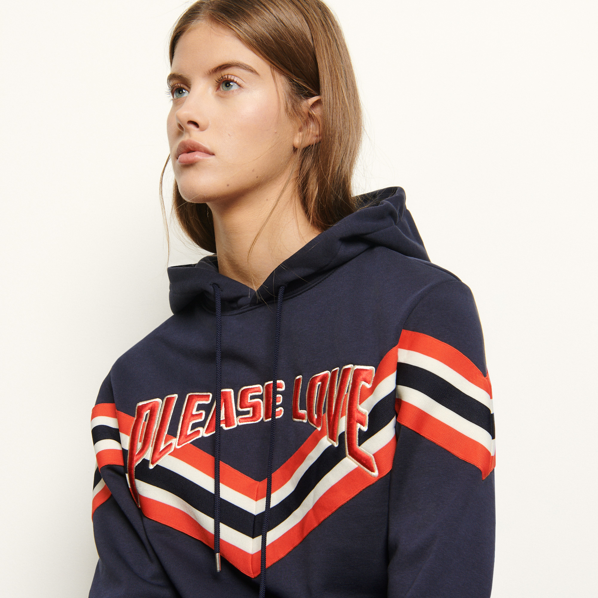 Hooded sweatshirt striped ribbed edging - Navy