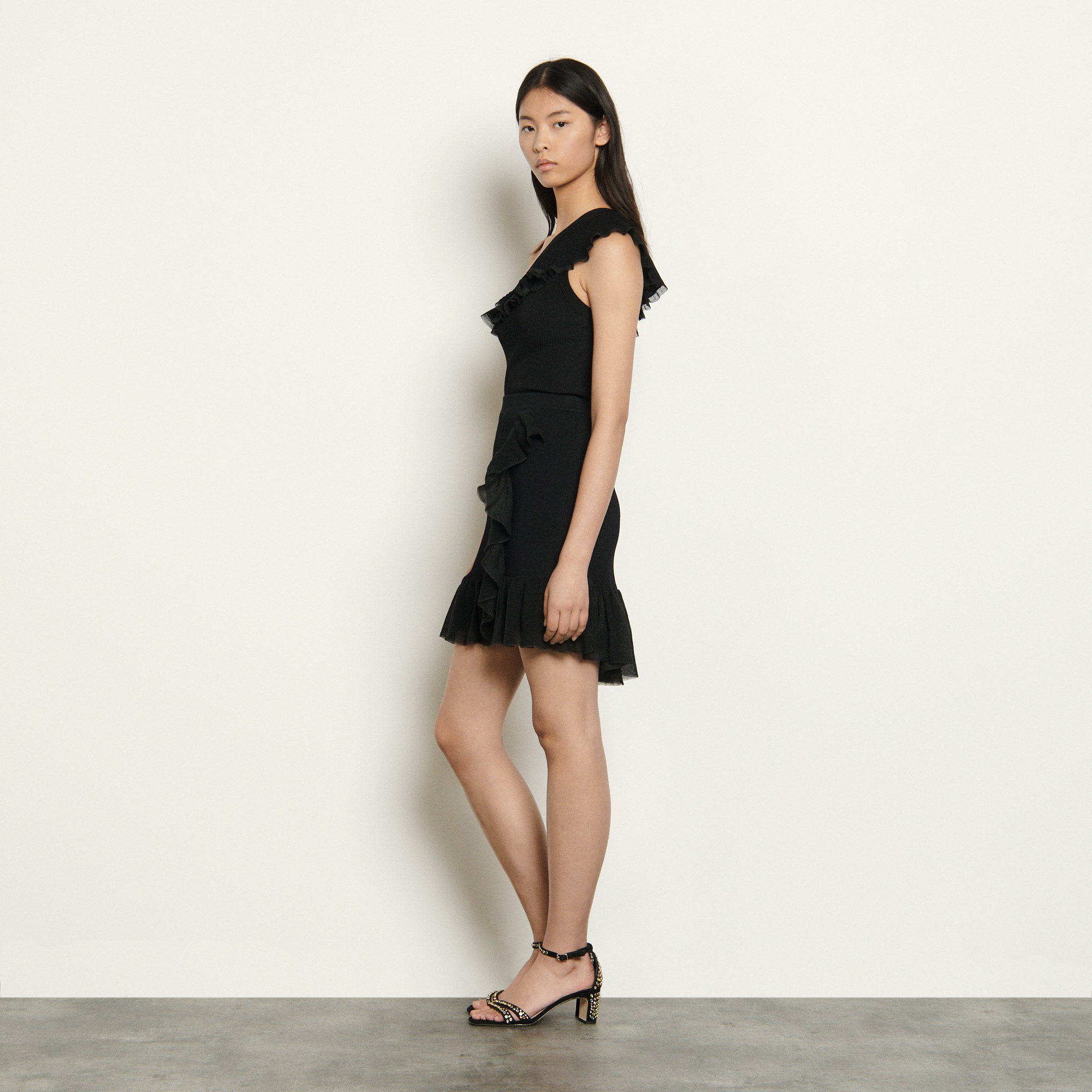 Black wraparound style knit skirt - Black