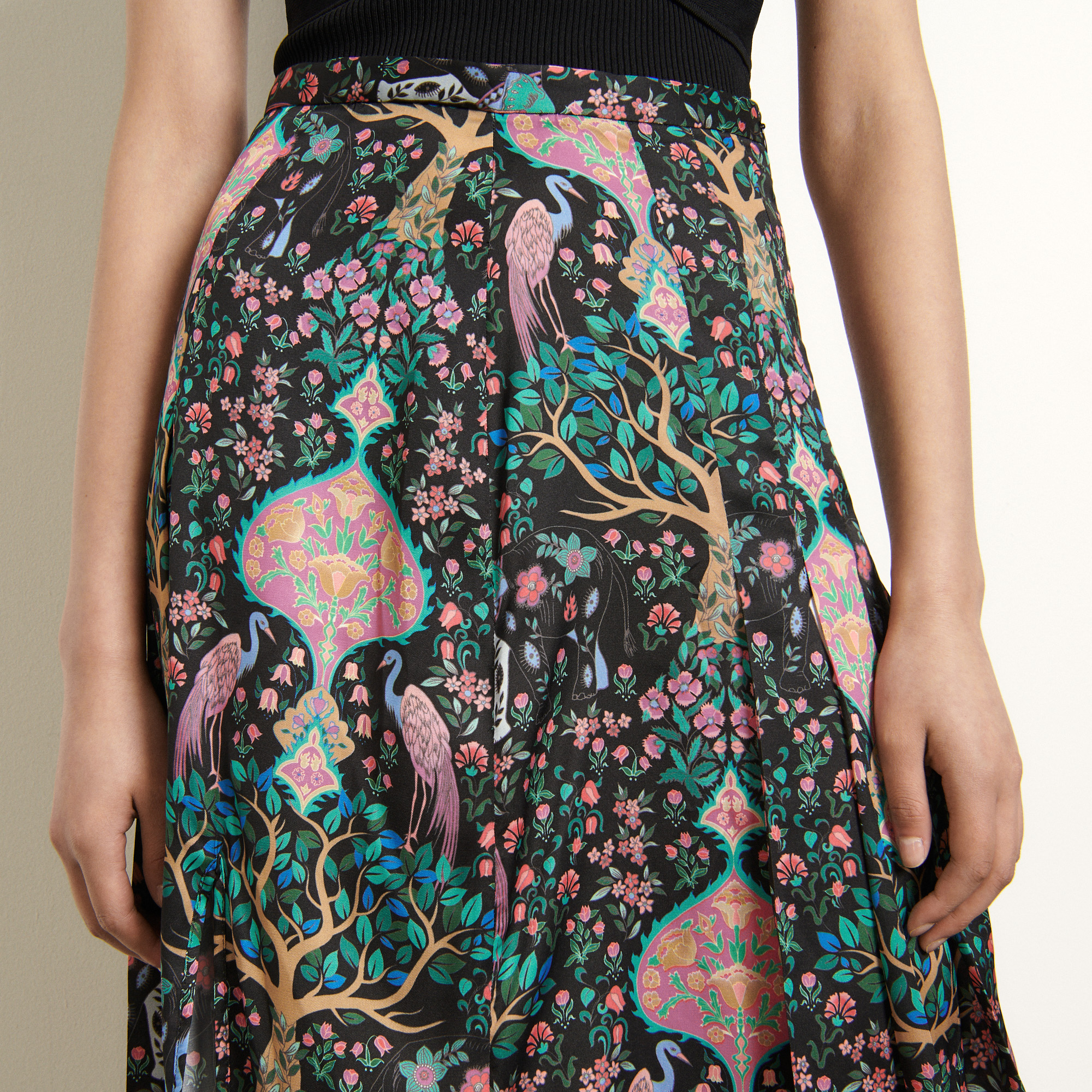 Long printed skirt  - Black