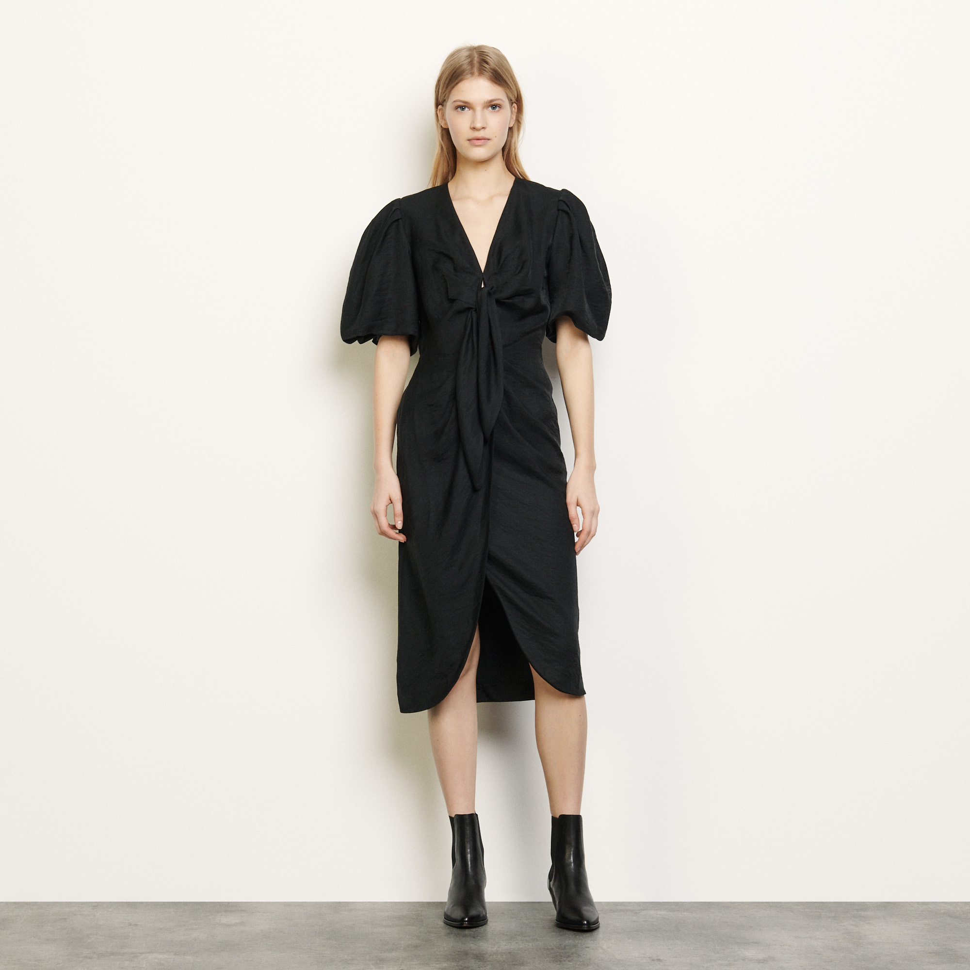 Linen tie dress  - Black