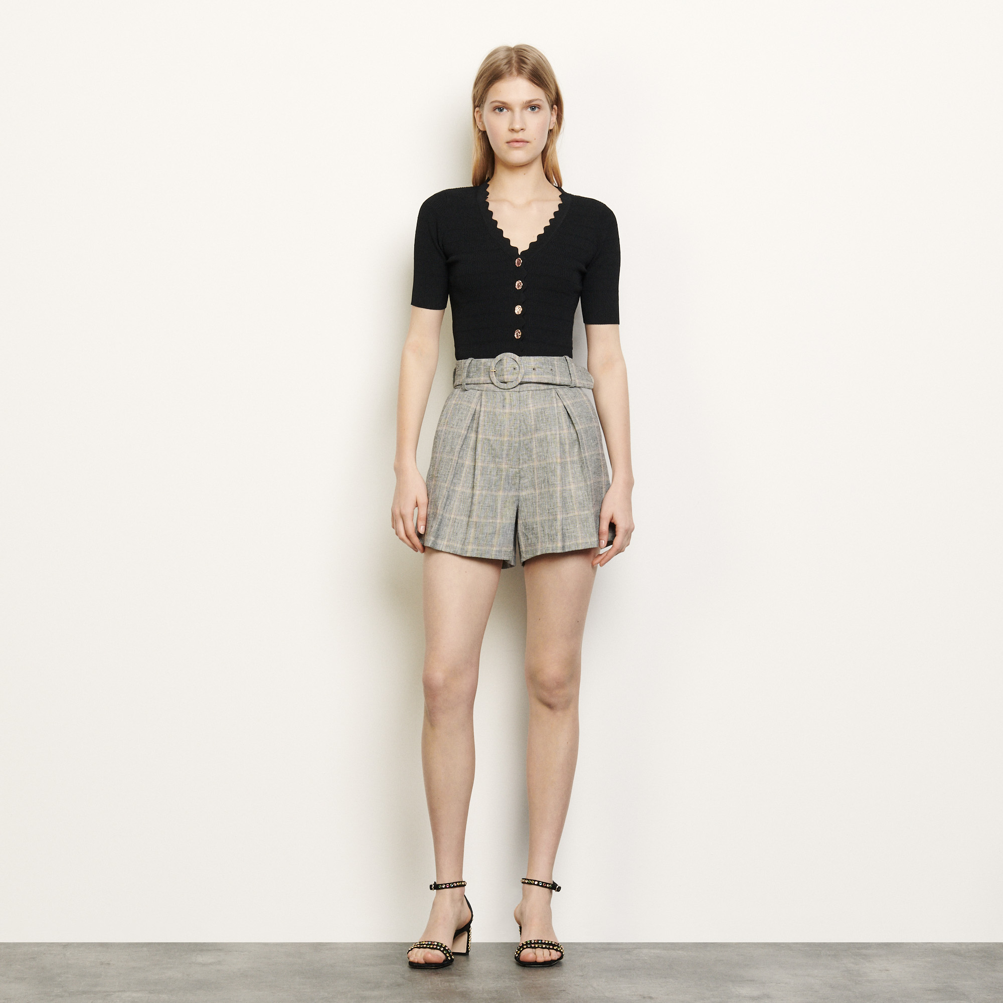 Check shorts with removable belt - Grey