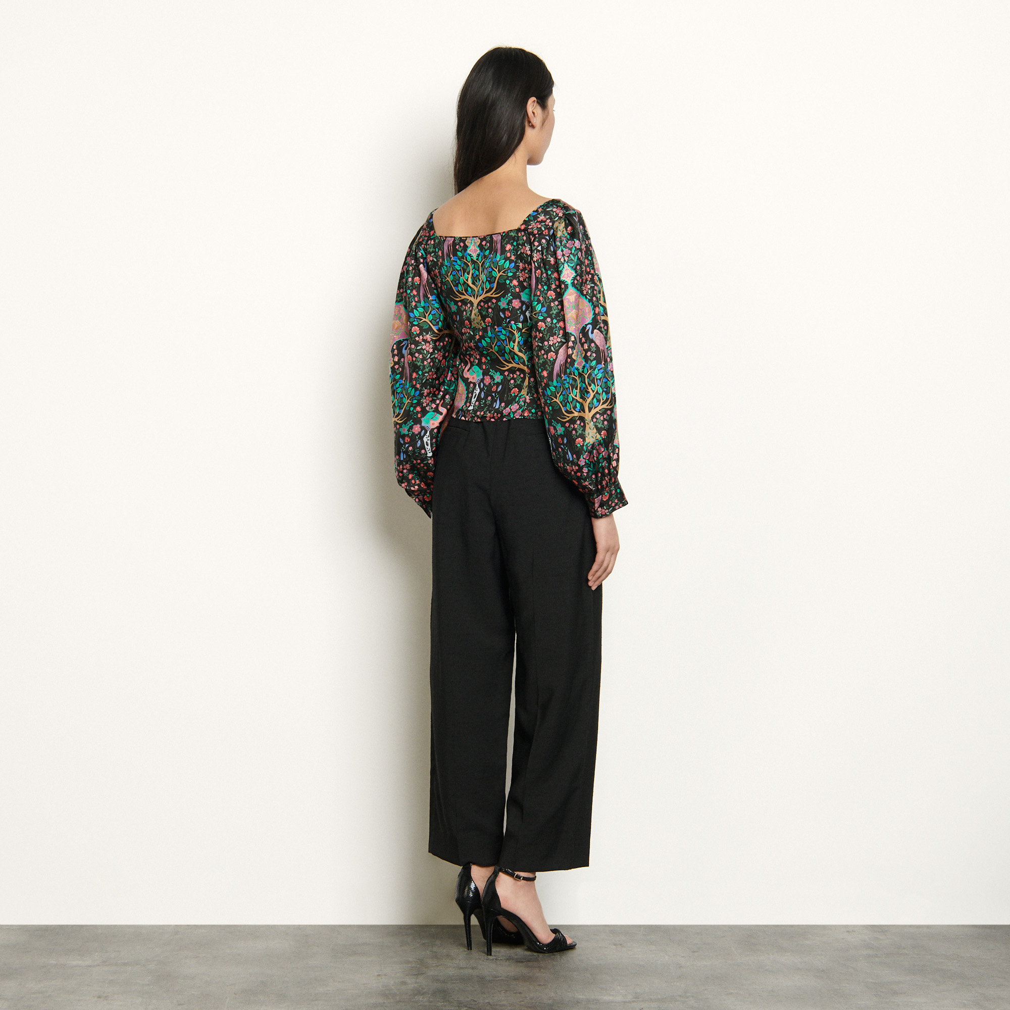 Printed silk top - Black